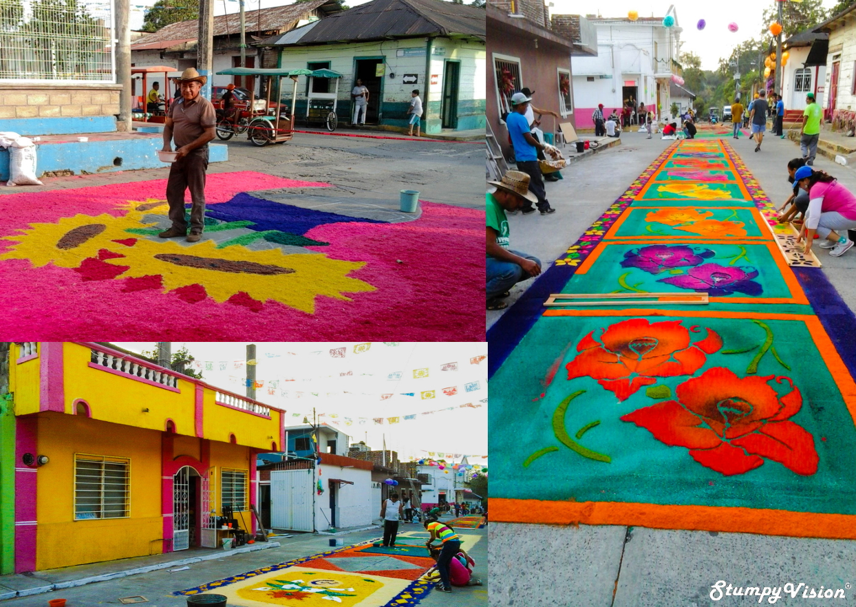 The vibrantly bright colours of Mexico are commonly spotted during festival time. Street carpet festival in the small town of Tuxla Chico, Chiapas.