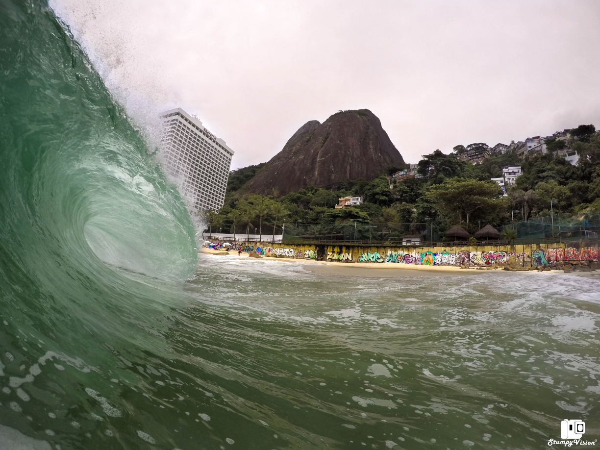 Thumping shore breaks and Favelas.