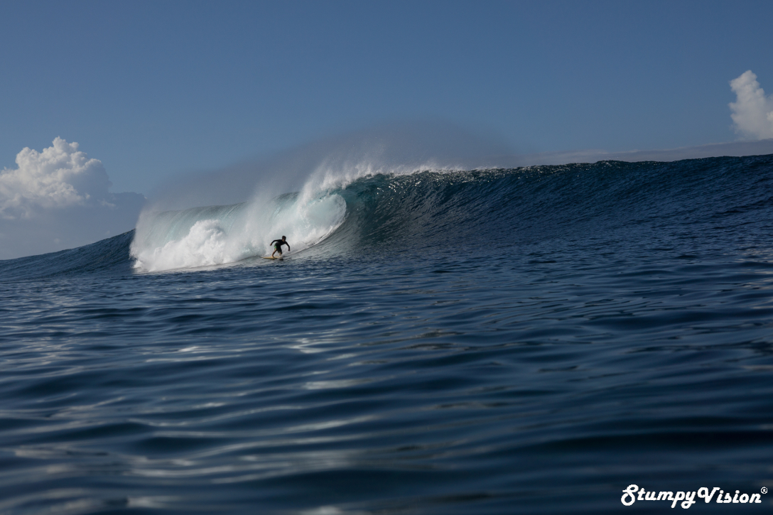 Santiago Piedra from Guayaquil scores one of the waves of his life in the Galápagos.