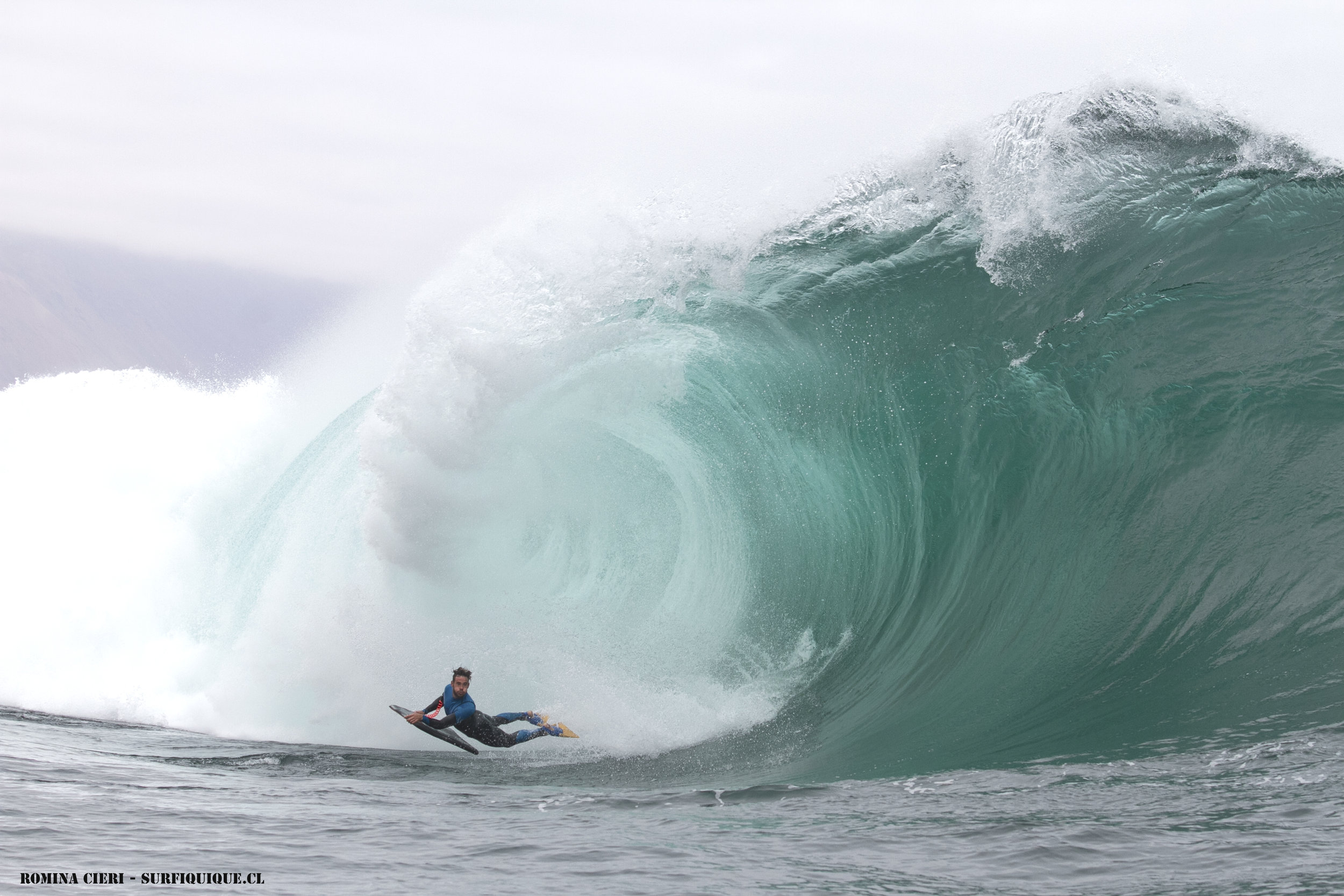 Diego Cabrera  from the Canary Islands tackles the beast around the same time I was there. Photo by Argentine surfer/model  Romina Cieri