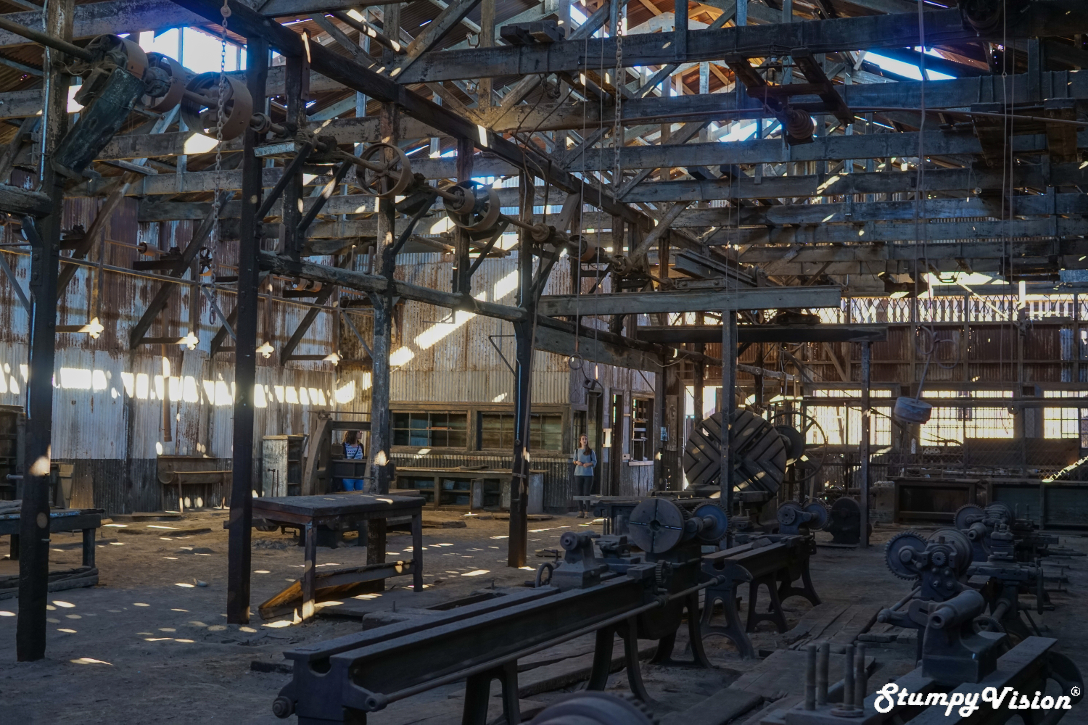 Much of the machinery and equipment is still intack in the mining warehouses.