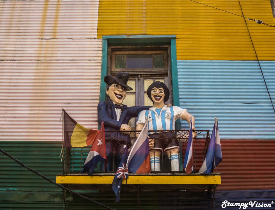 Rubbing shoulders with Argentina's prodigal son Diego Maradona in La Boca.