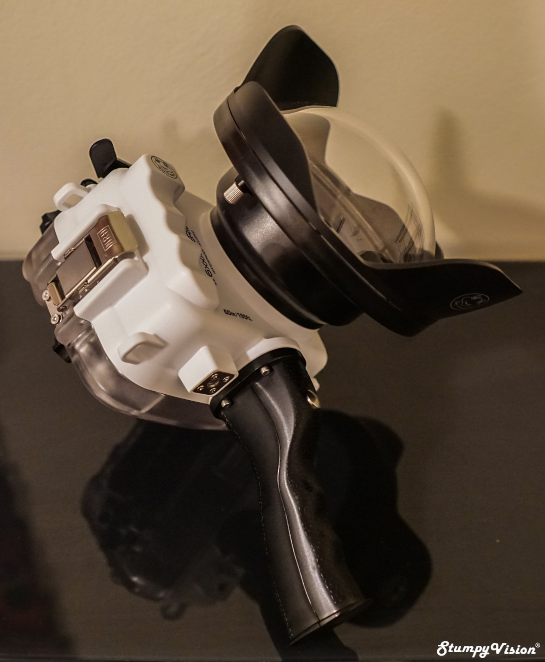 Salted Line A6xxx housing with two stage trigger and 6 inch dome port.