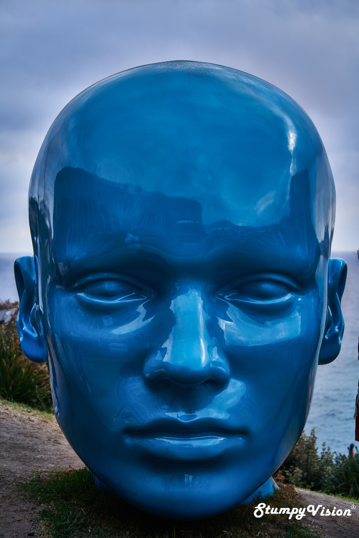 STUDIODEX@UNSW,  Look Inside My Mind . I love the bold blue colour and glossy sheen on this massive sculpt.