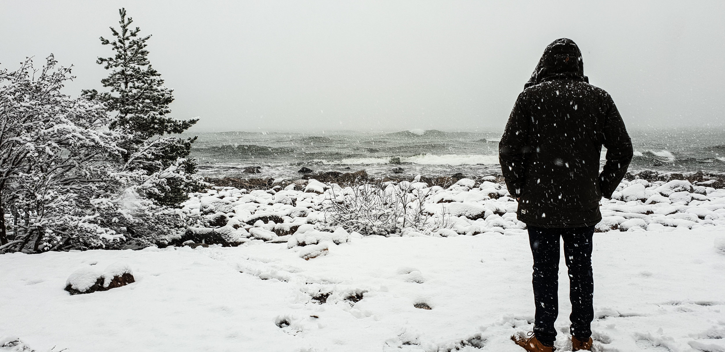 Onshore and snowing, a typical surf check in Norway.