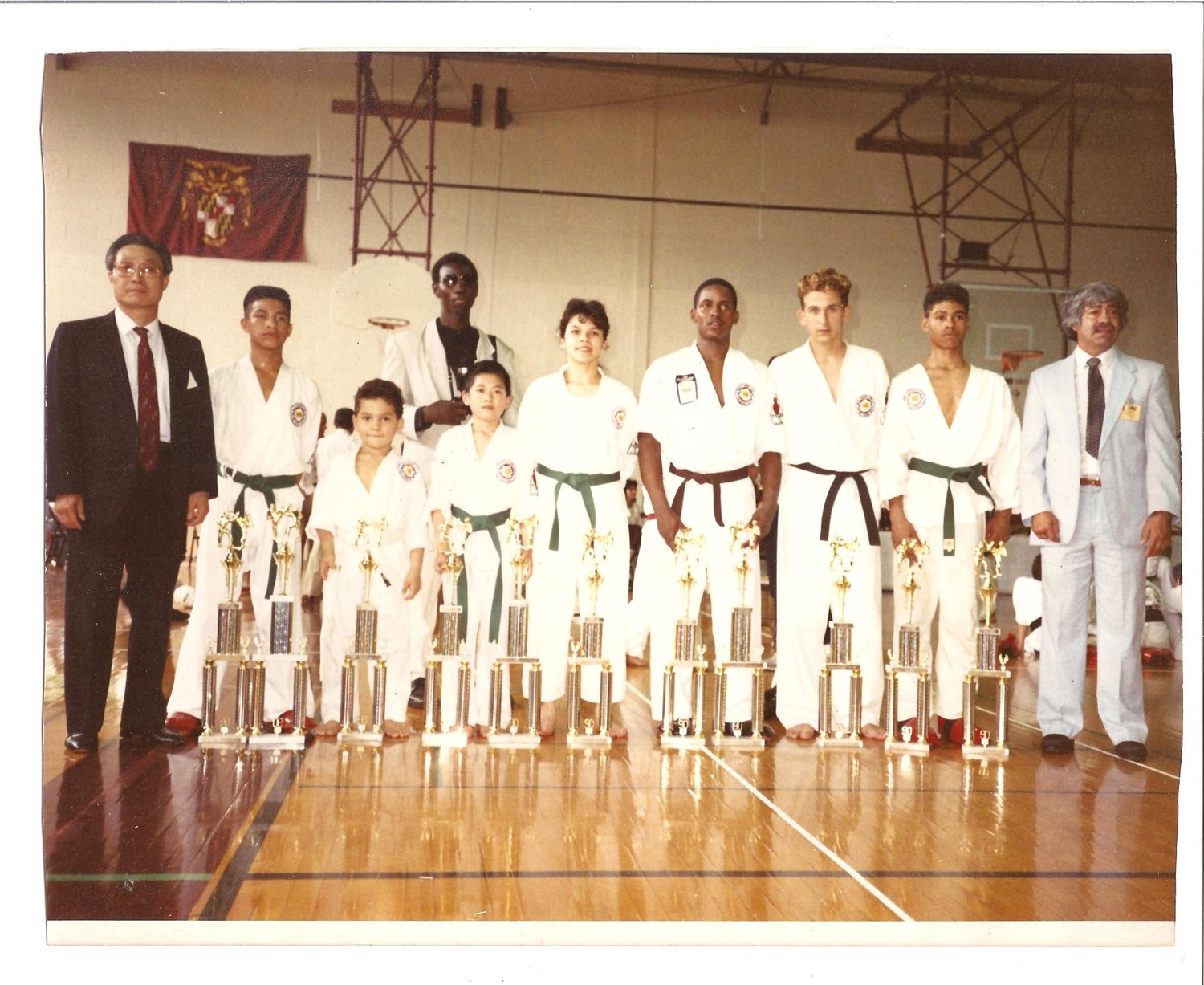 Bronx Tae Kwon Do Institute at Ki Whang Kim Eagle Classic, Maryland, June 1988. A young (Master) A. Ross pictured at right, 14 years old.