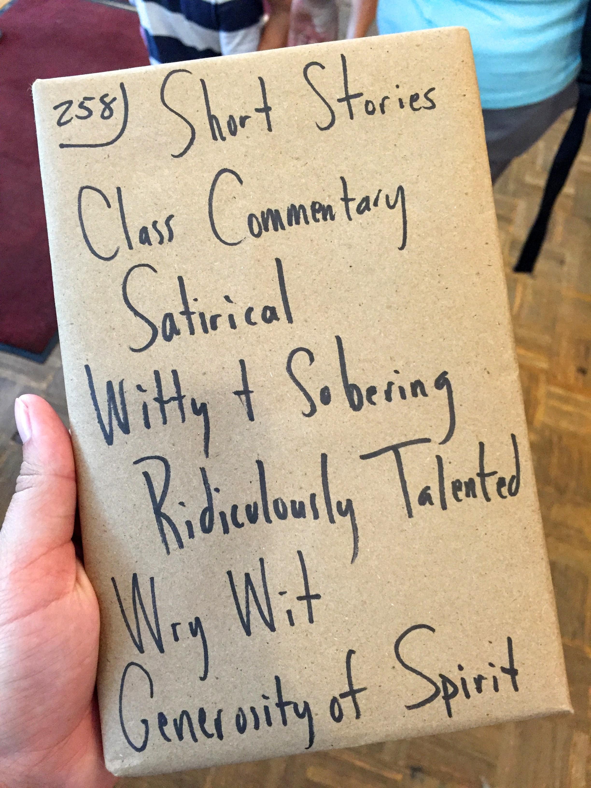 "There's a fun ""blind date"" book shelf at a local bookstore in Asheville, NC."