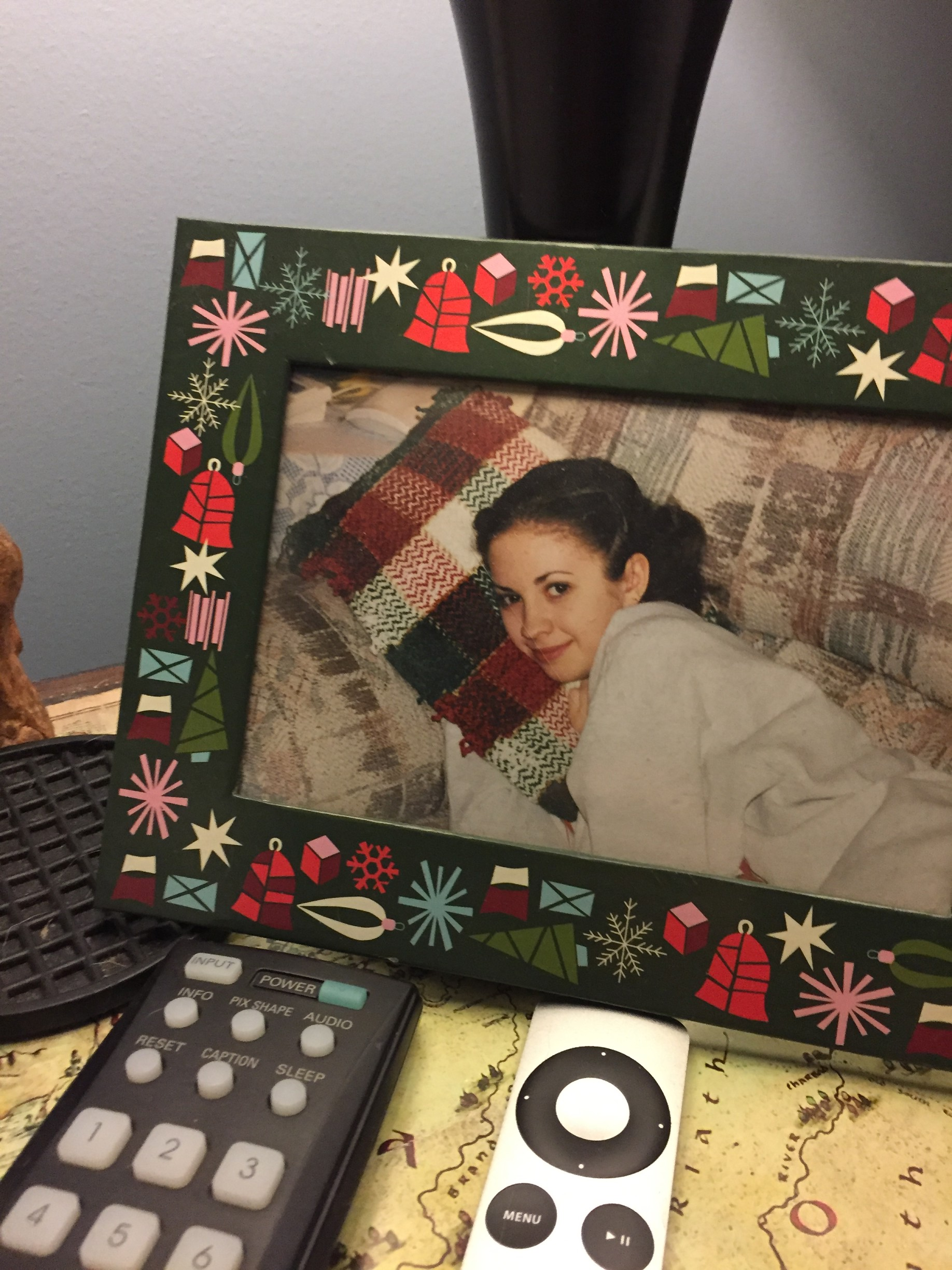 It's endearing that Noah puts this photo of me as a 14-year-old out on his nightstand every year.
