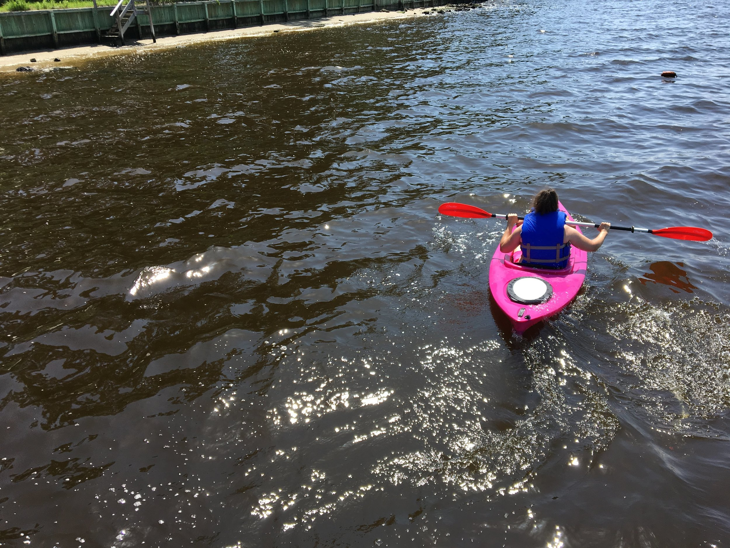 So far, this is the best photo Noah has captured of me kayaking.