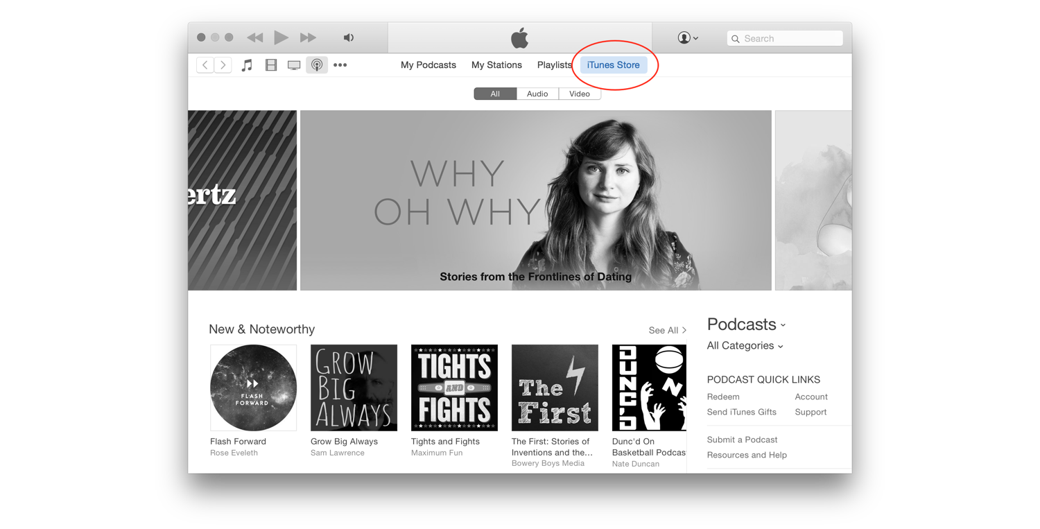 In the iTunes app, select the iTunes Store.