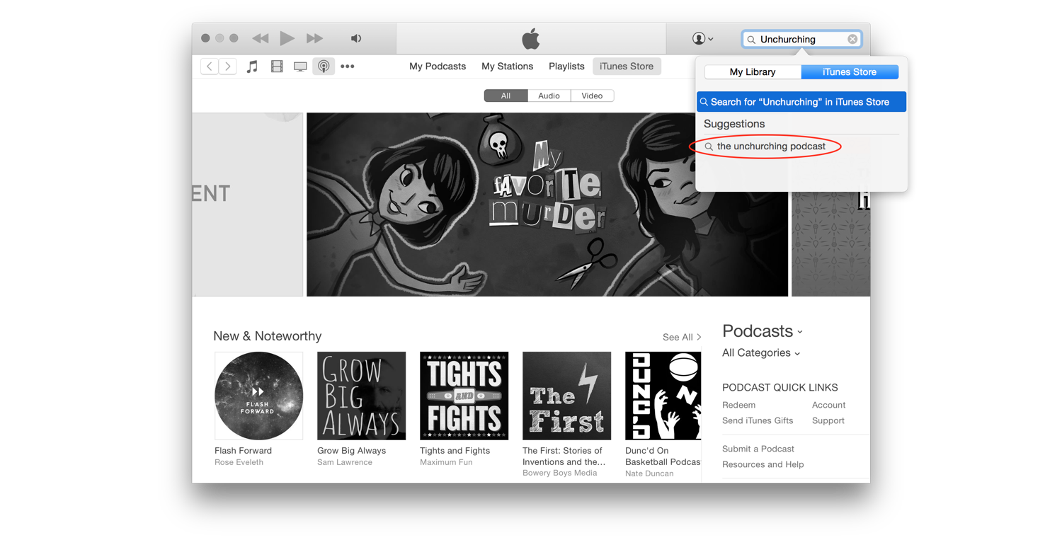 """Type """"Unchurching"""" into the search bar and select """"The Unchurching Podcast""""."""