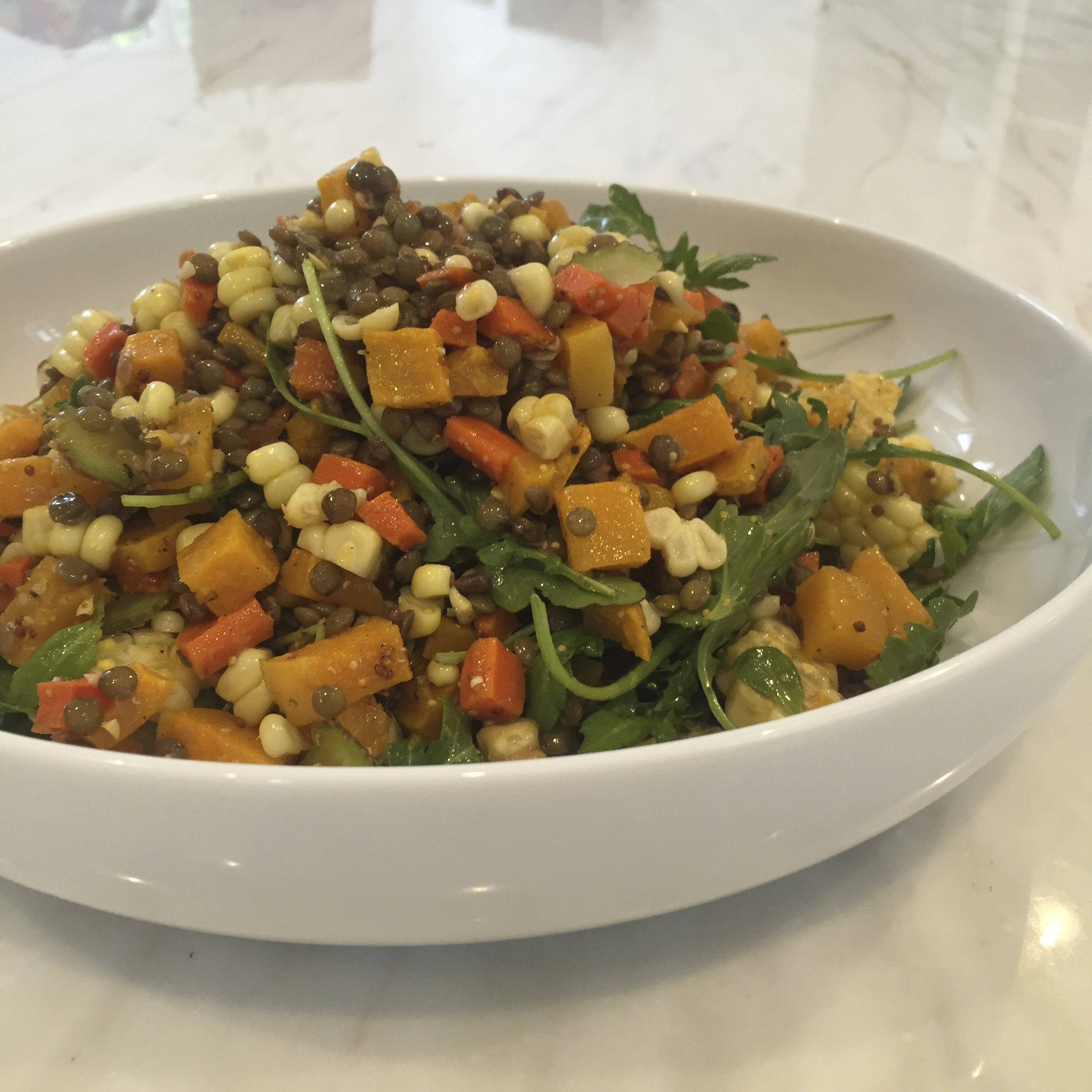 Lentil Salad with Autumn Squash and Corn
