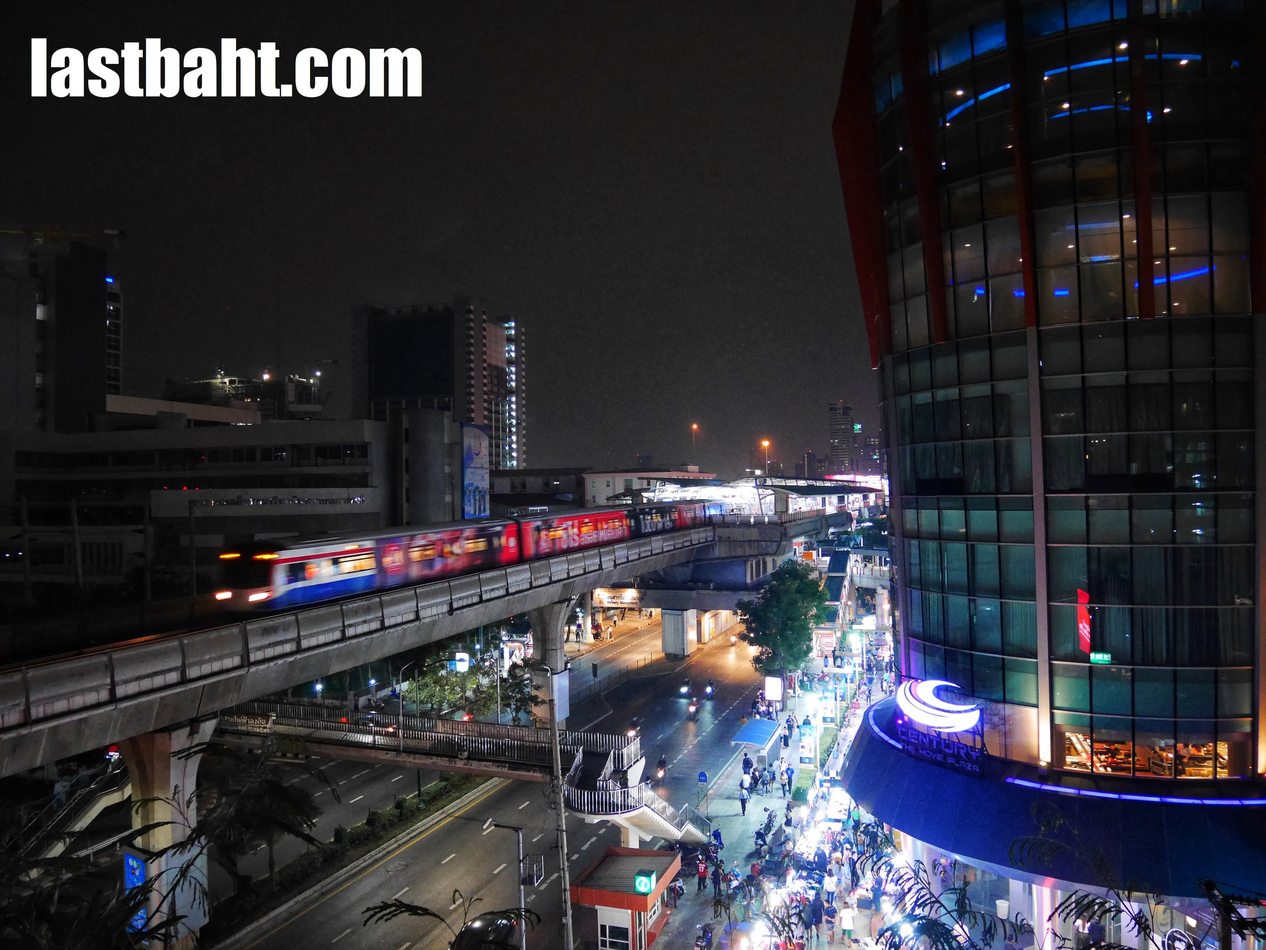 view of the BTS Skytrain and Century Movie Plaza from the Skytrain Jazz Club's rooftop bar