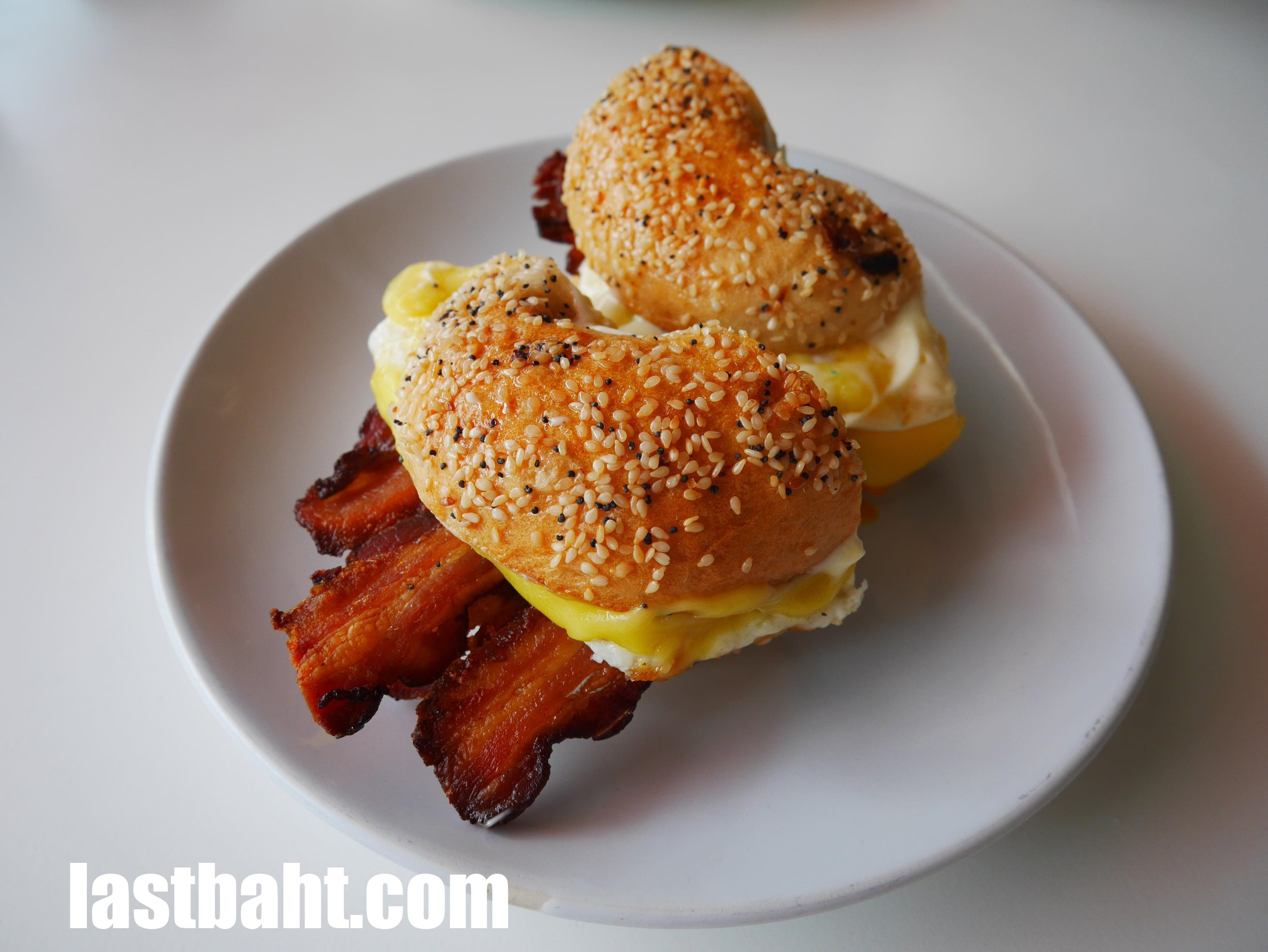 """Breakfast Epic"" bagel served at BKK Bagel Bakery, Bangkok, Thailand"