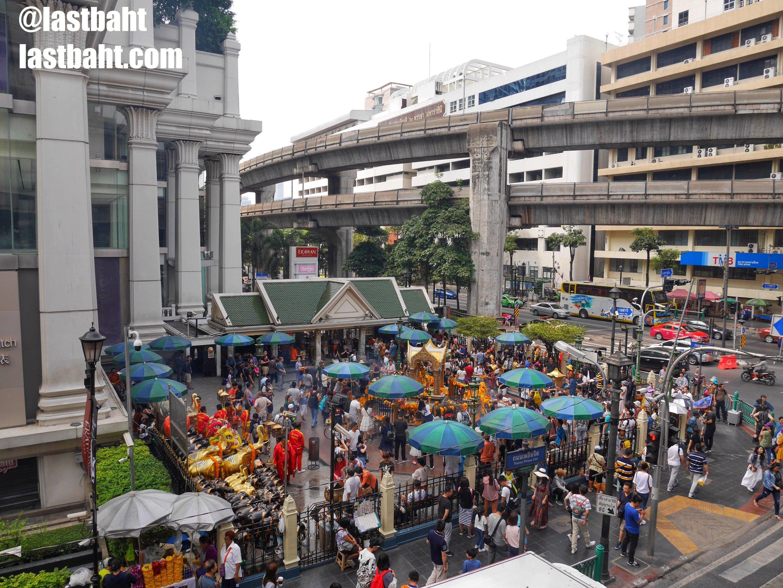 The Erawan Shrine in downtown Bangkok
