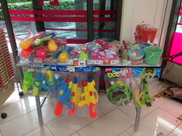 you'll find water guns, plastic waterproof phone cases, and buckets available for sale at any convenience store in the days leading up to Songkran