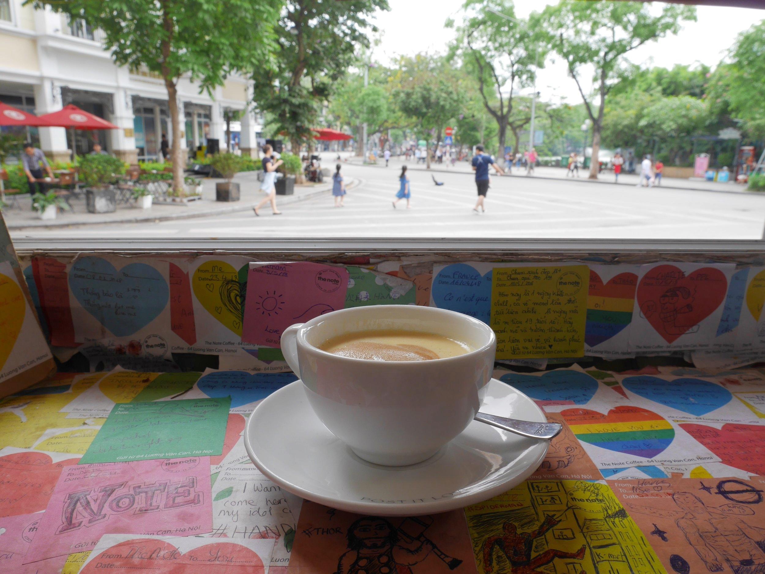 Egg Coffee, the note coffee, Hanoi Vietnam