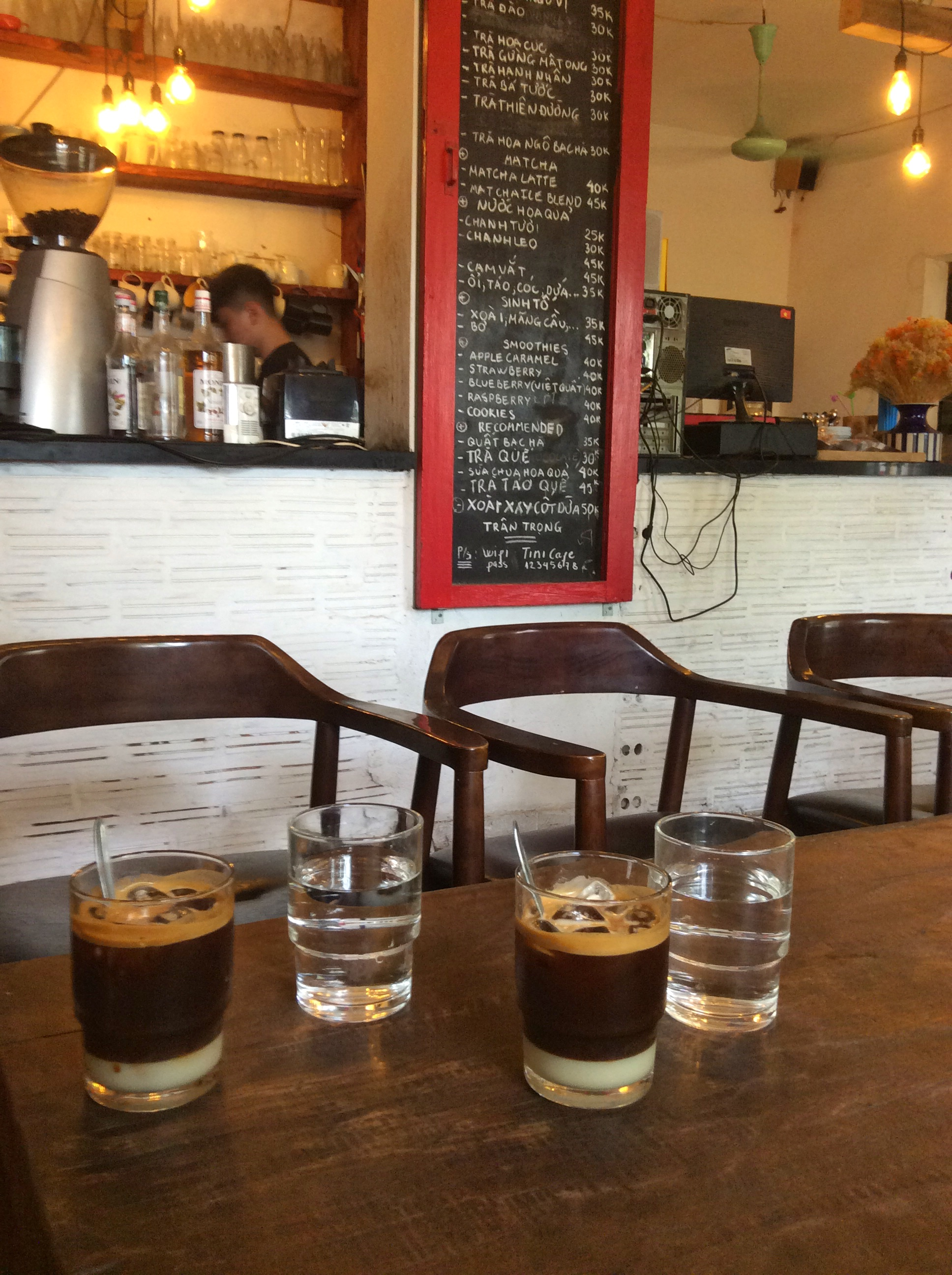 Inside TIny cafe with a cozy atmosphere