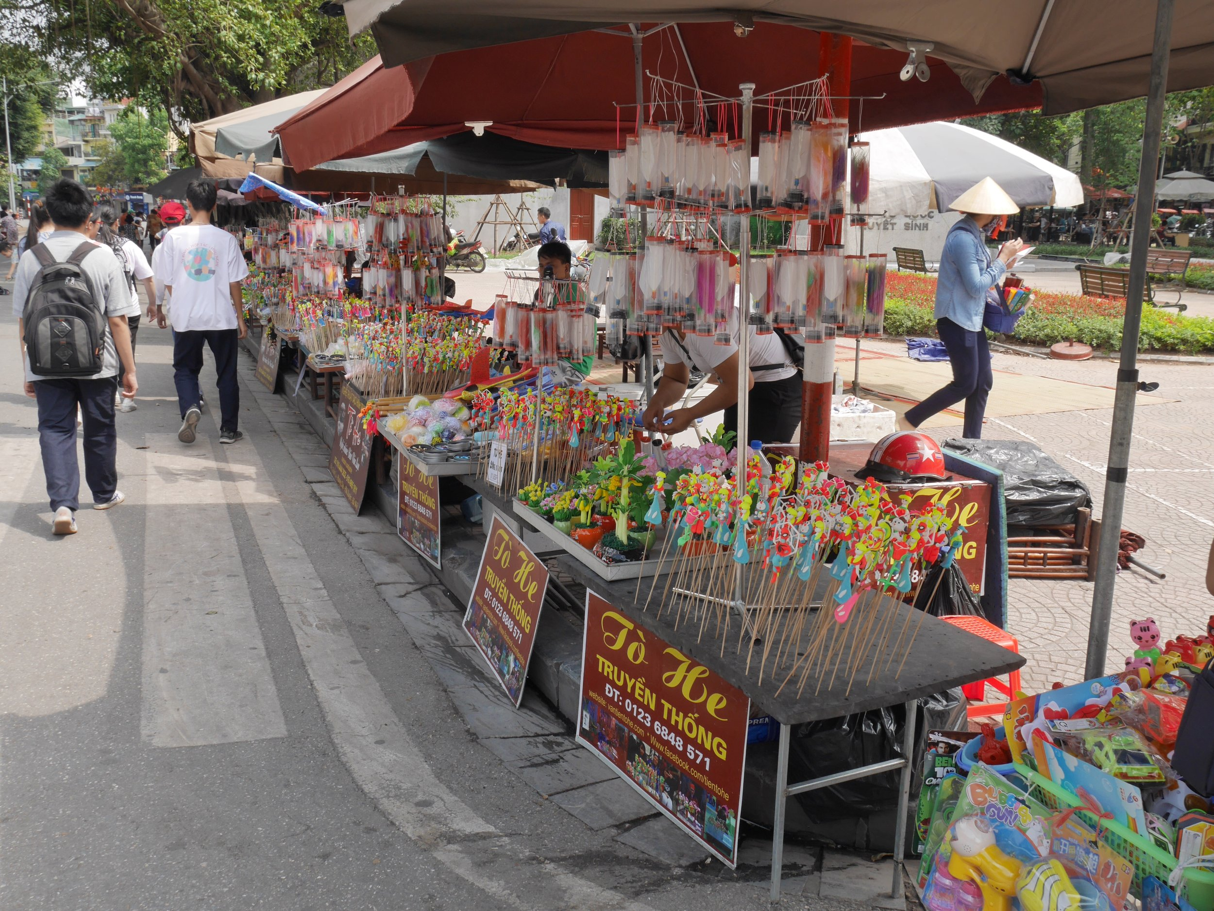 Street vendors around Hoan Kiem Lake during the weekends