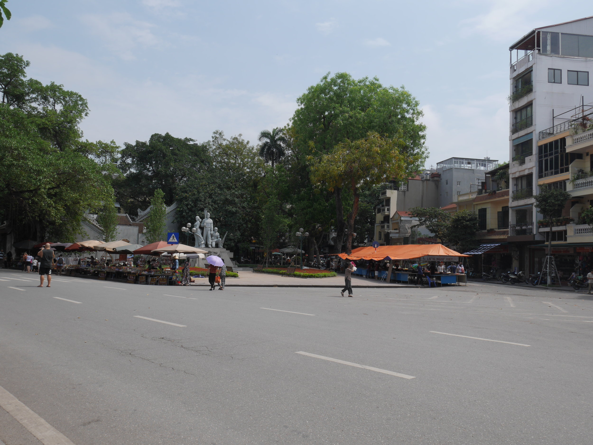 The weekend is the only time when you'll ever see a clear and empty street in Hanoi's Old Quarter!