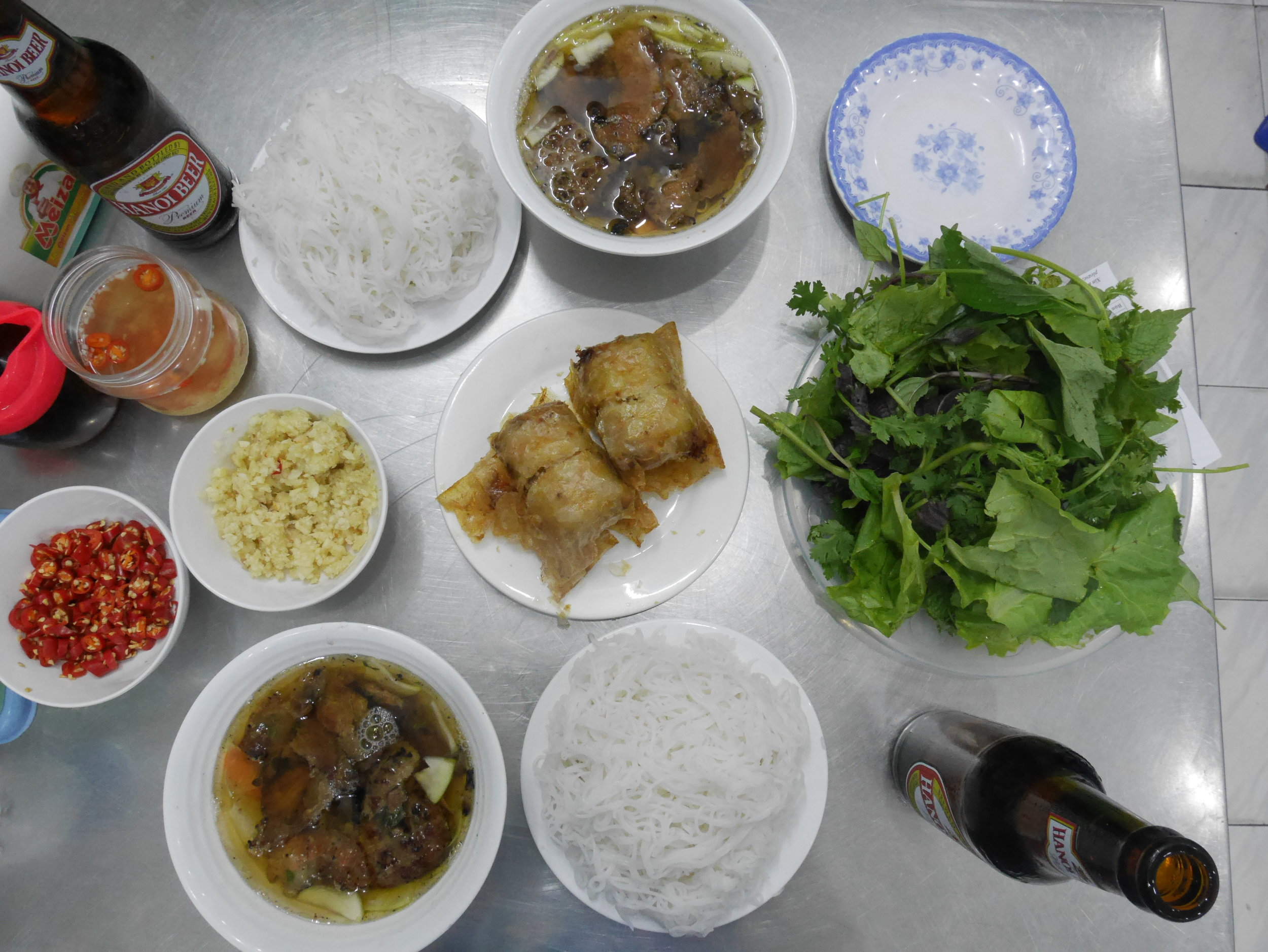A super filling and delicious meal, washed down with a Hanoi Beer.