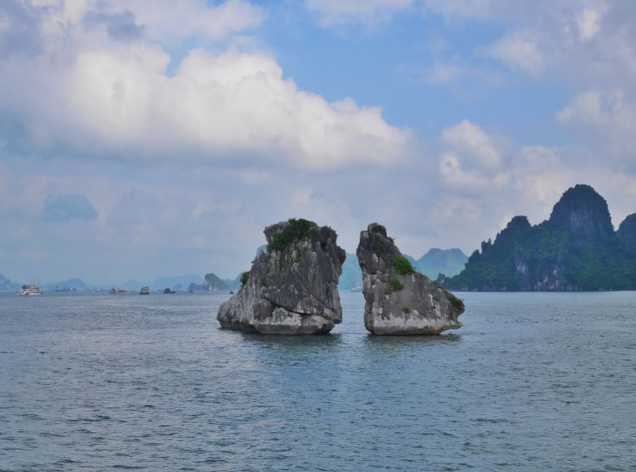 "famous ""Cockfight Rock"" in Ha Long Bay"