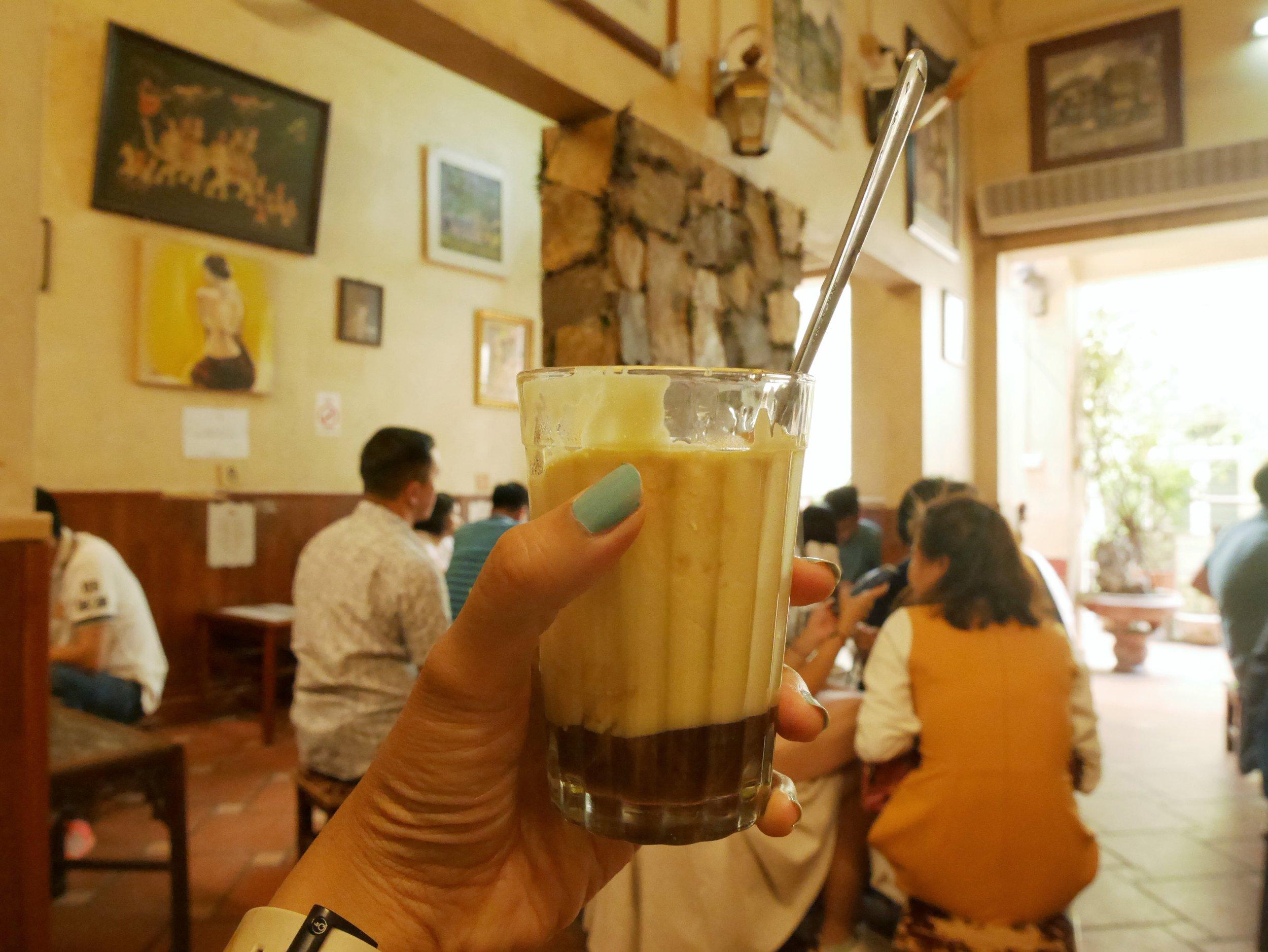 The original Vietnamese egg coffee at Cafe Giang, Hanoi Old Quarter