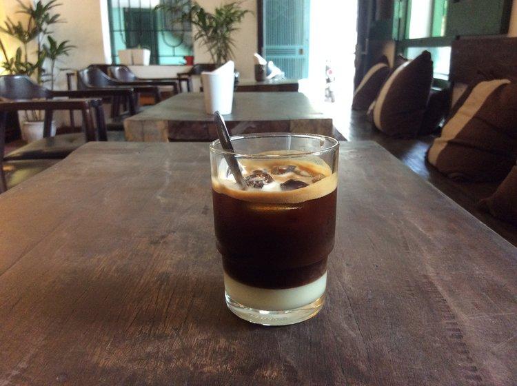 a traditional glass of Vietnamese cafe sua da