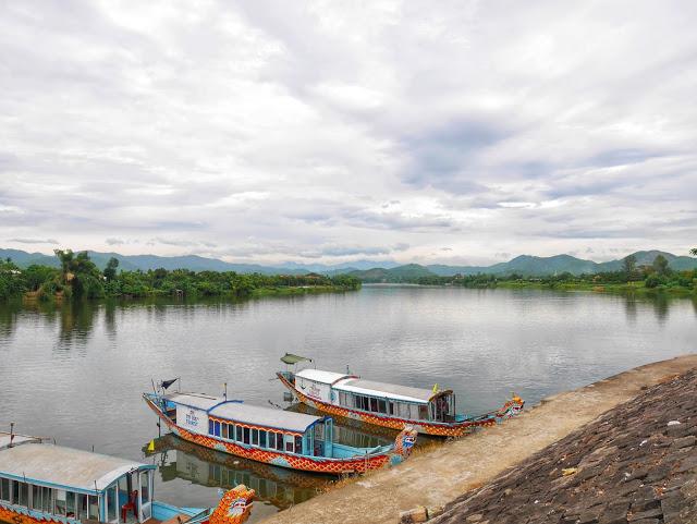 boats along Hue's Perfume River