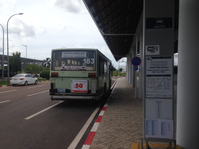 airport bus station at Wattay Airport, Vientiane