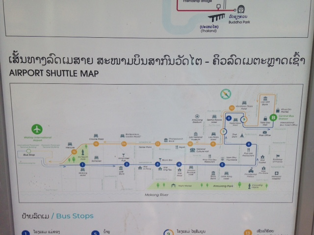 Vientiane city center airport bus map