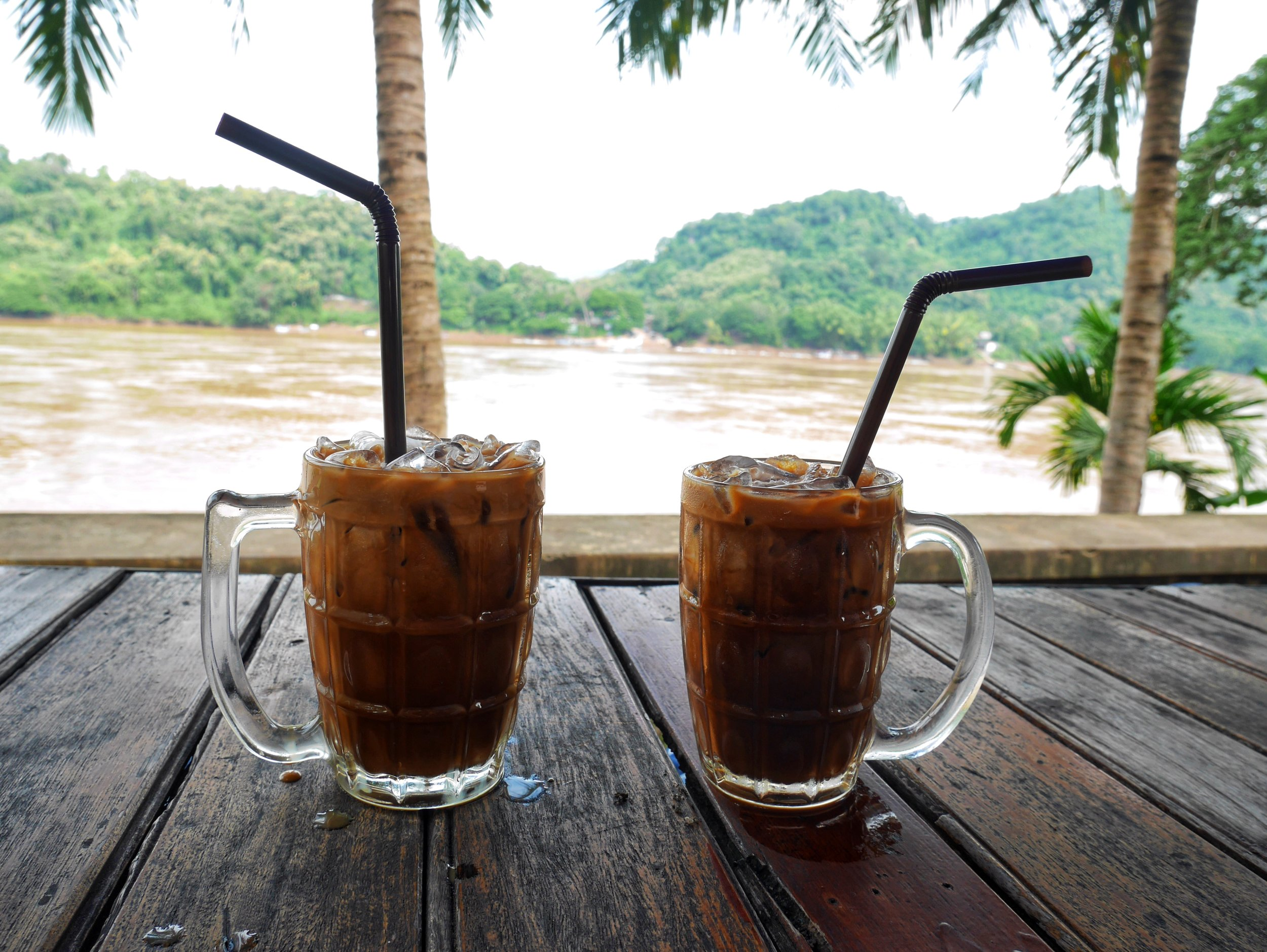 Best Lao Coffee in Luang Prabang - very traditional cafe on the riverside