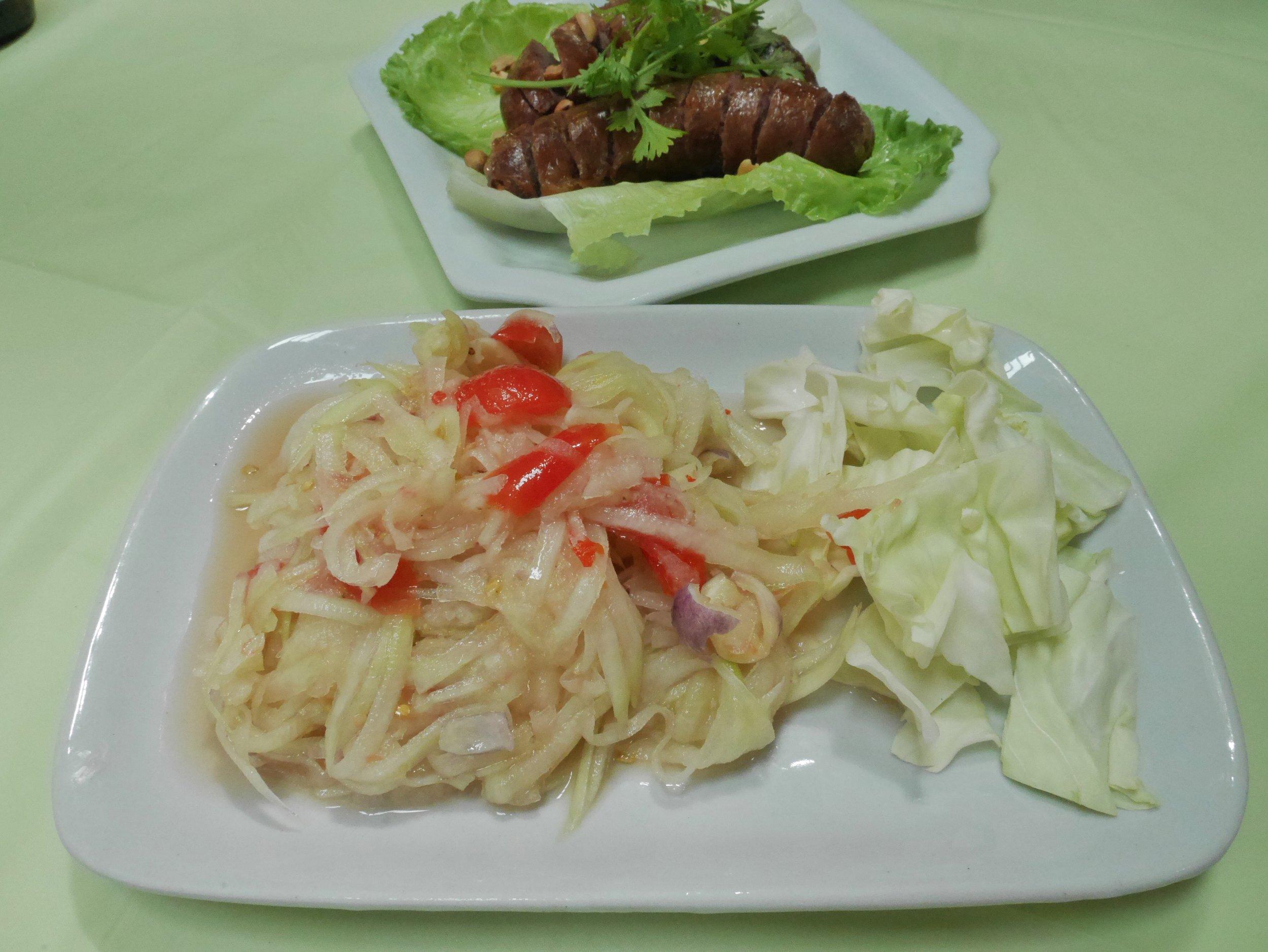 Lao food, lao papaya sald, Luang Prabang