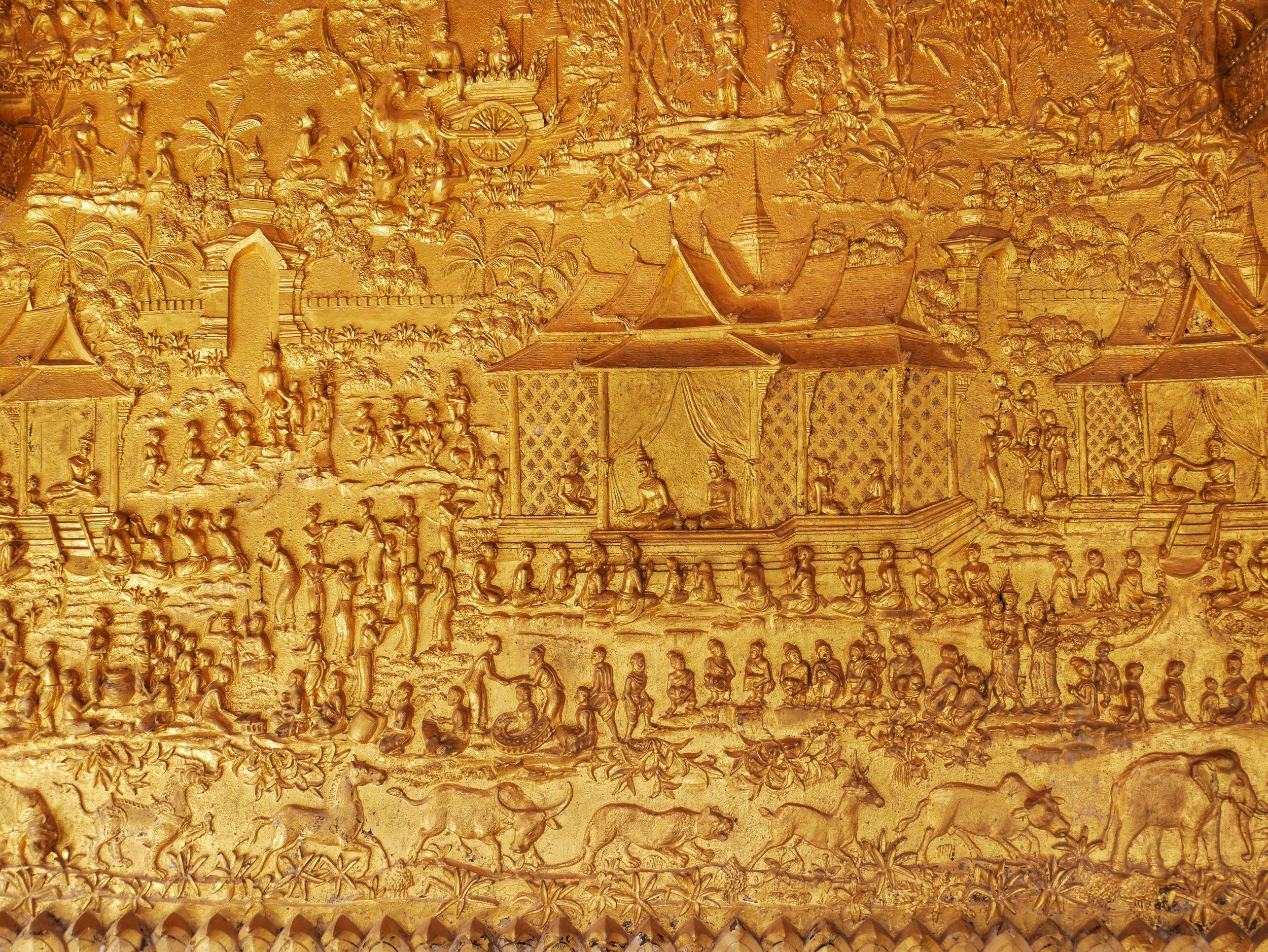 gilded reliefs at Wat Mai, Luang Prabang, Laos