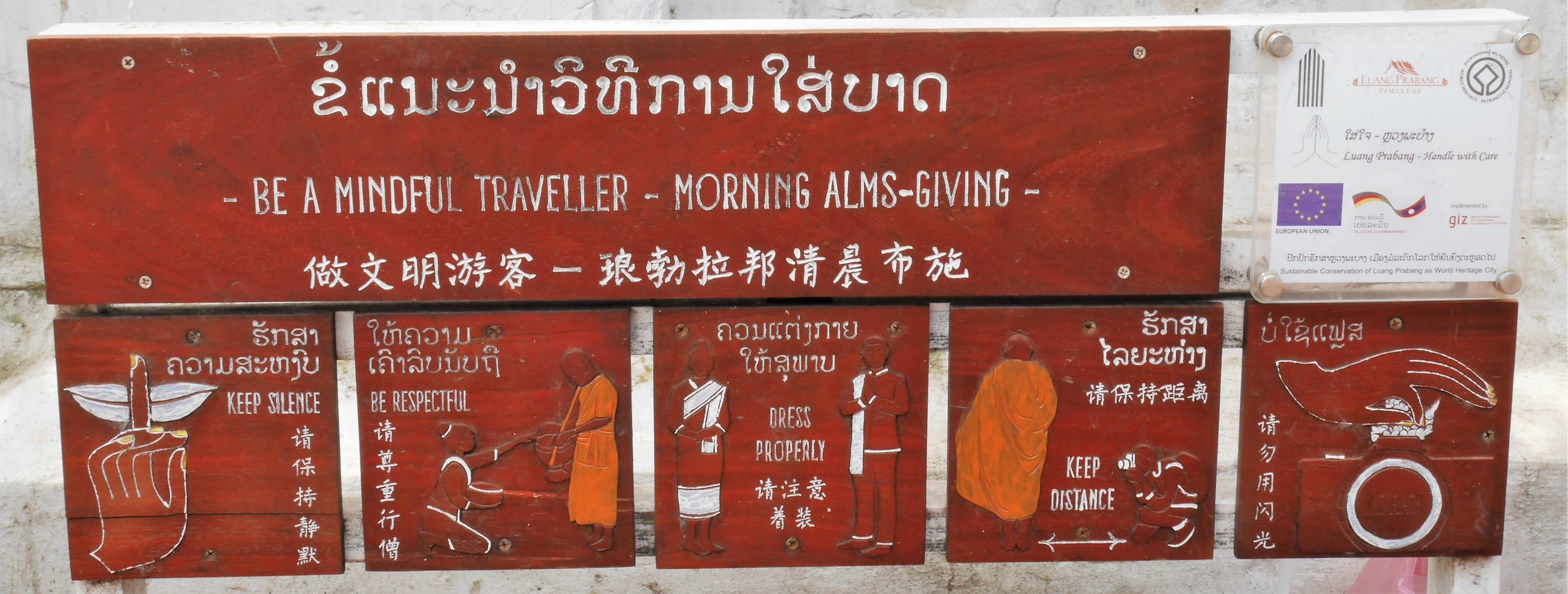 regulations for respectful participation in the morning alms giving ceremony - Luang Prabang