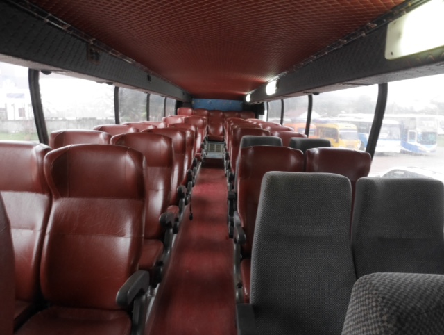 interior of a VIP day bus in Laos