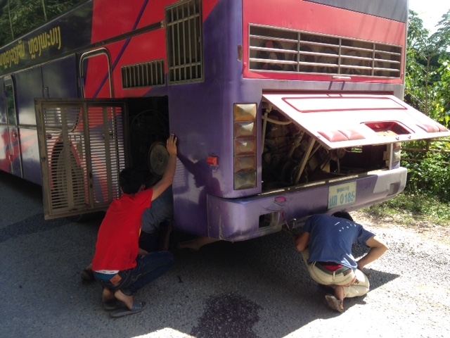 breakdowns are not uncommon on the VIP Bus in Laos