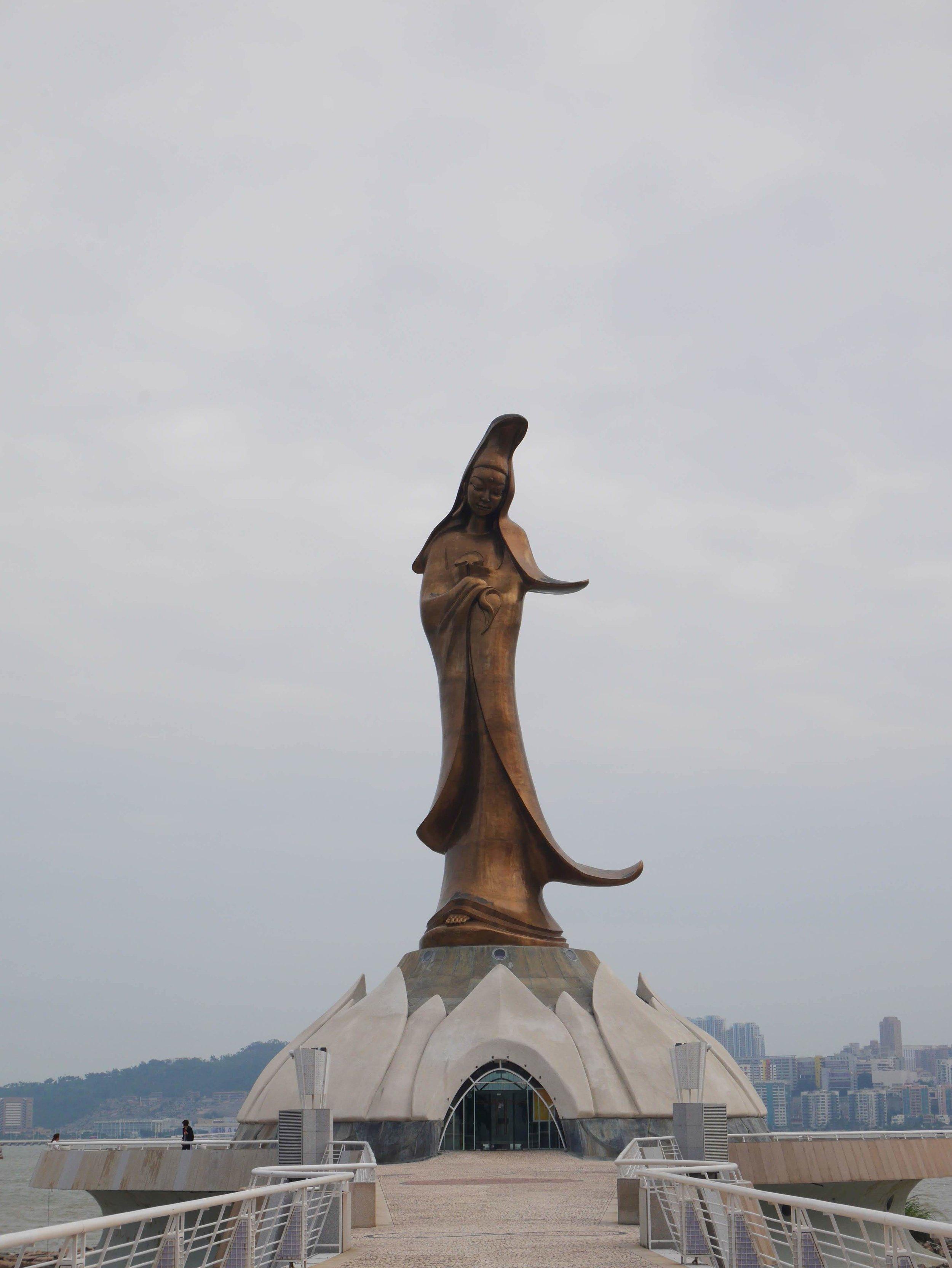 Statue of Kuan Iam in the harbor at Macau, China