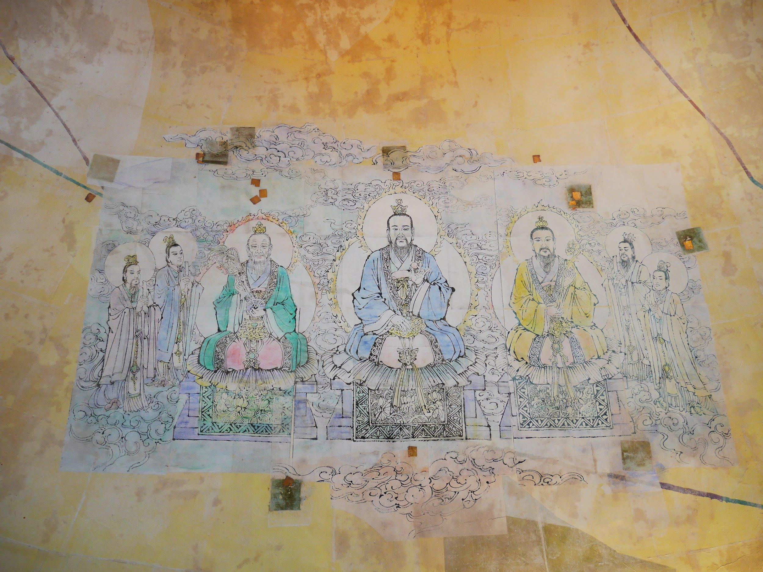 fresco murals depicting Taoist gods at the Kuan Iam Center in Macau