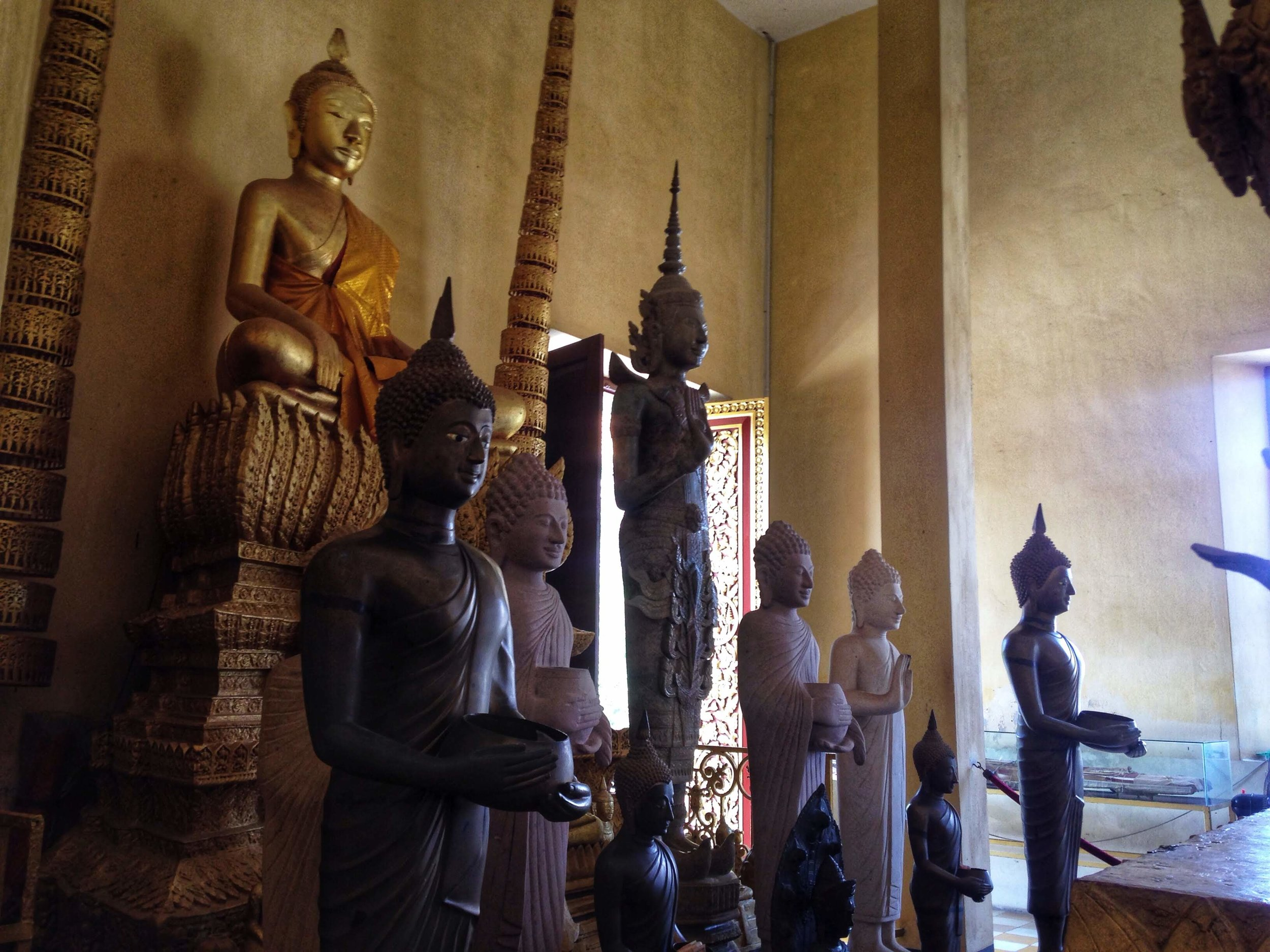 Buddha statues at one of the many shrines at the Royal Palace.