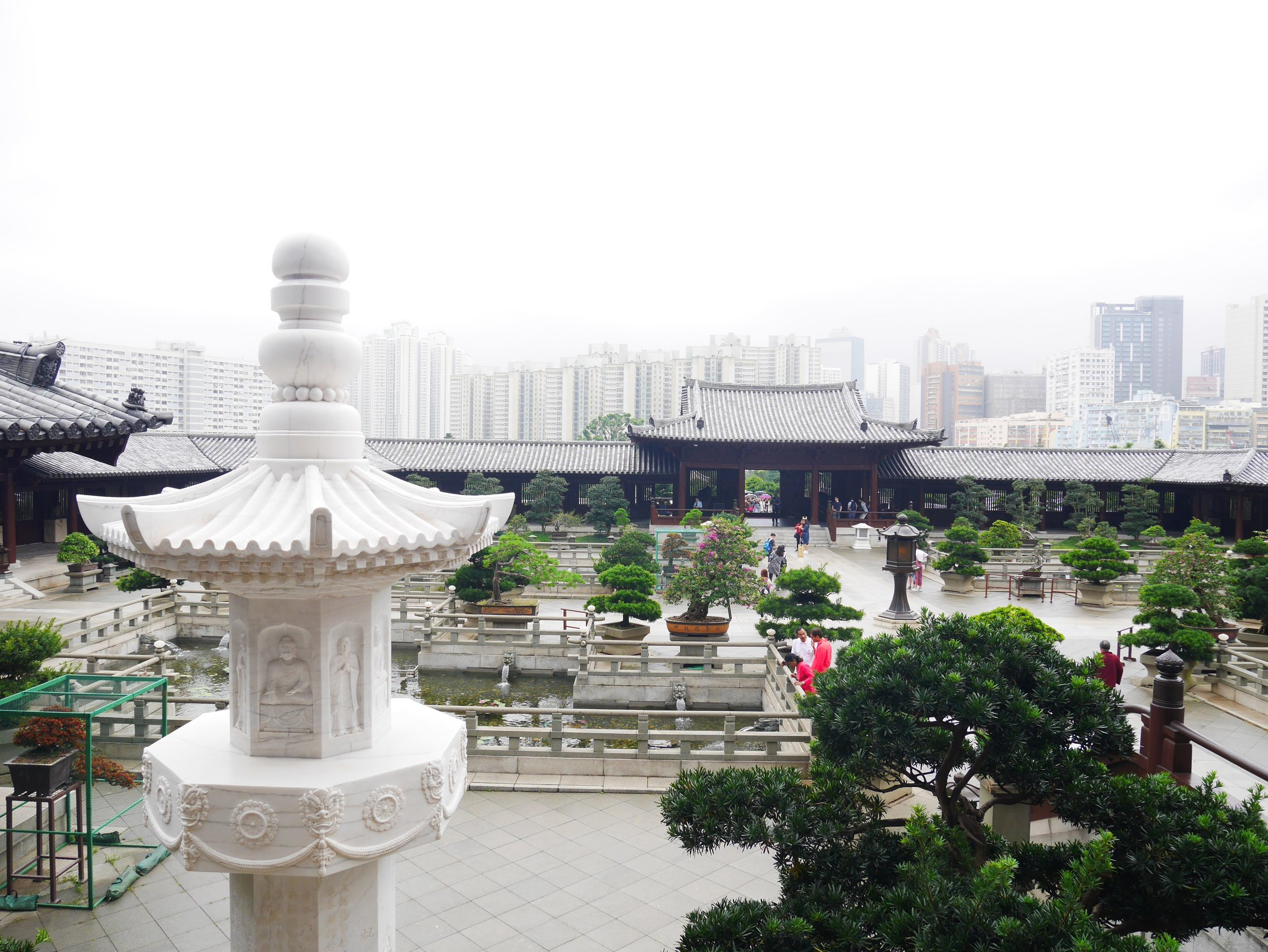 Chi Lin Nunnery courtyard and fish ponds, Kowloon, Hong Kong
