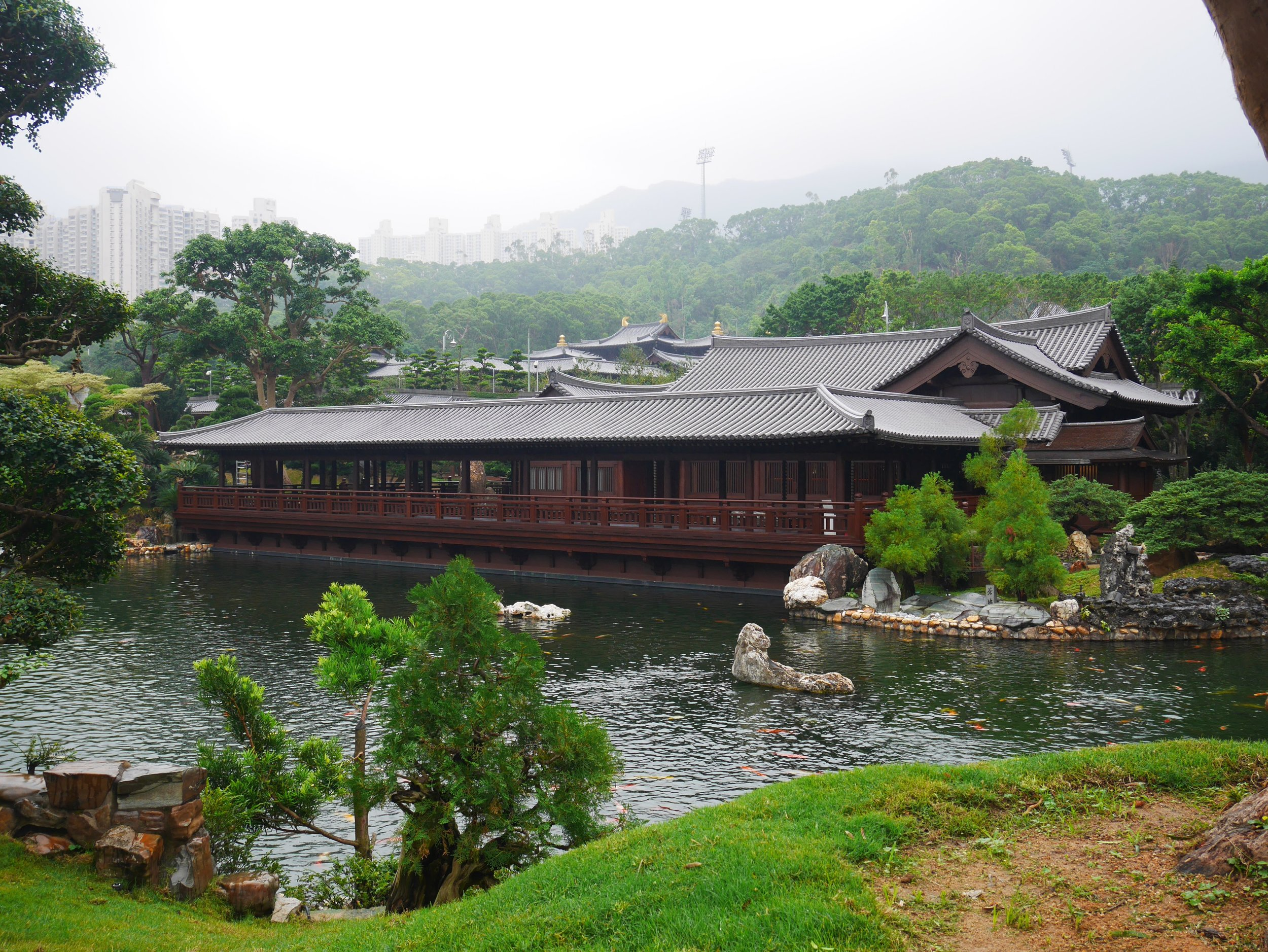 Various structures in the Chinese Garden are designed using Tang Dynasty architectural styles.