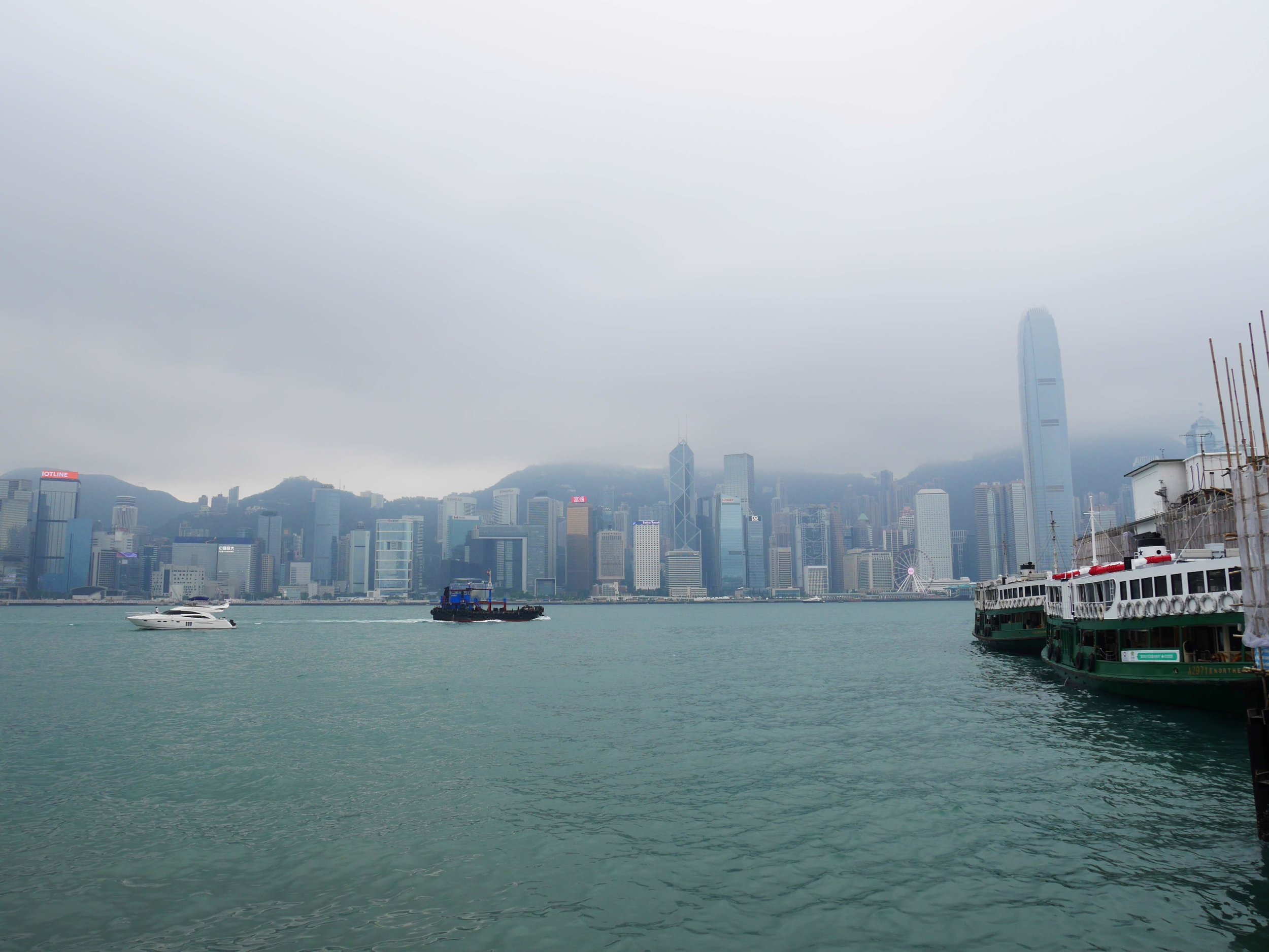 The Kowloon Star Ferry Terminal with downtown Hong Kong in the background.