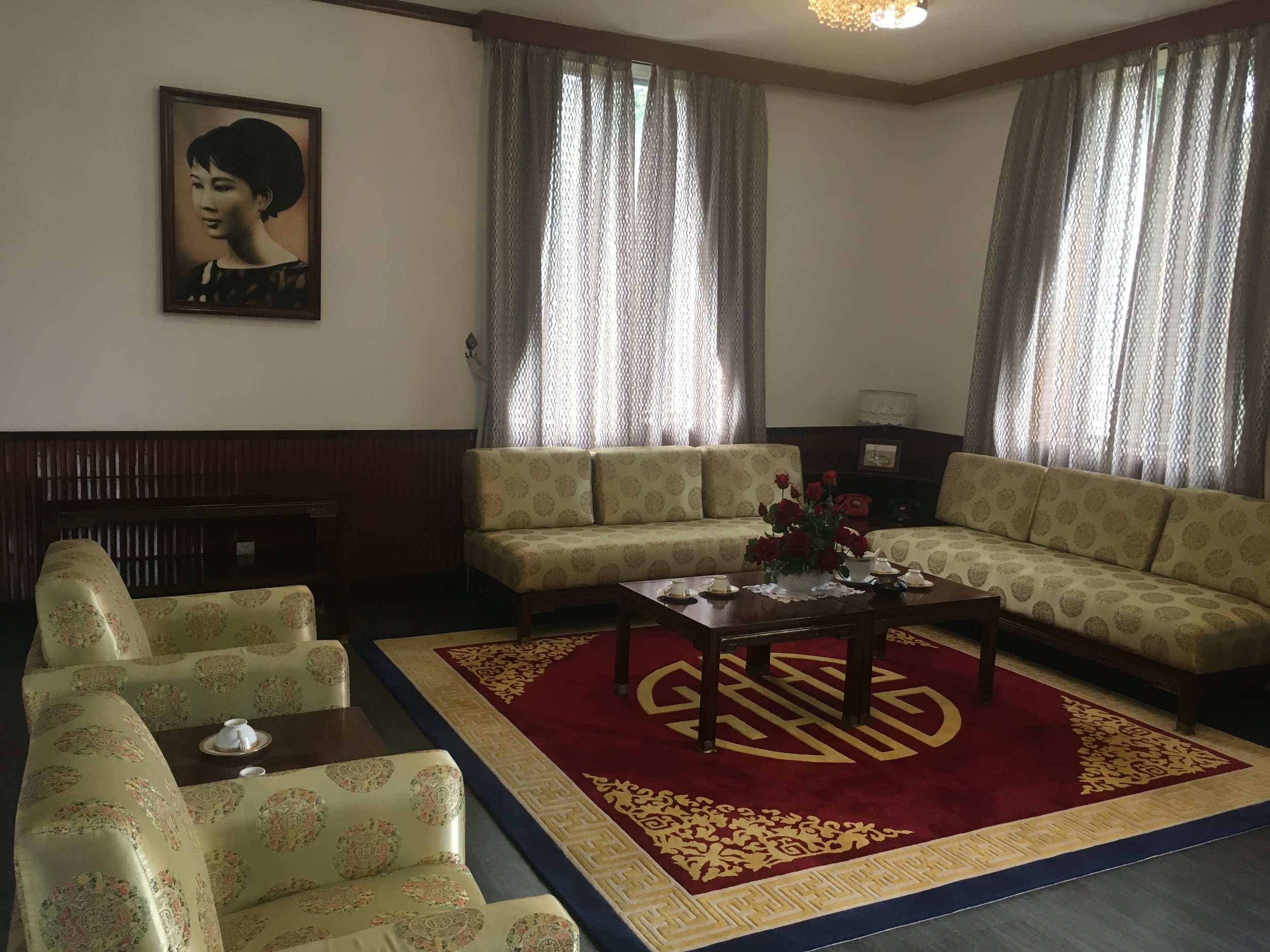 The interior of the Independence Palace Museum, the home and headquarters of the former President of South Vietnam.