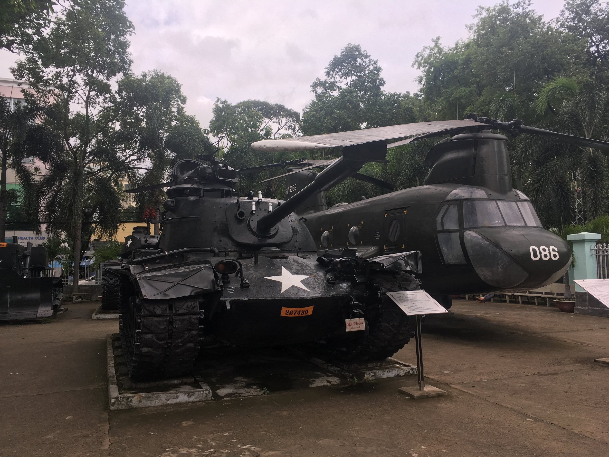 tanks and aircraft on display at Vietnam's War Remnants Museum
