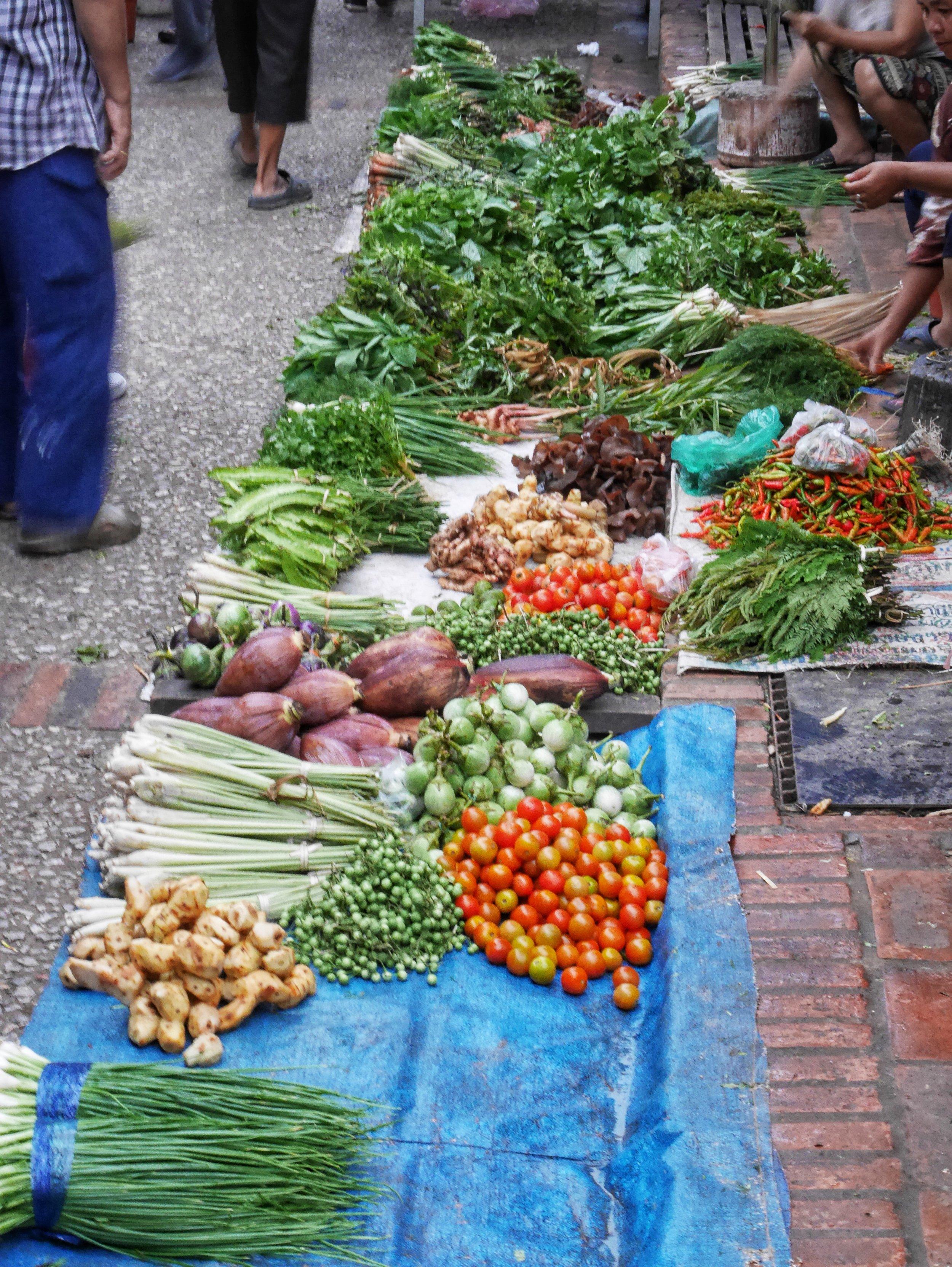 fresh produce for sale at the Morning Market in Luang Prabang, Laos