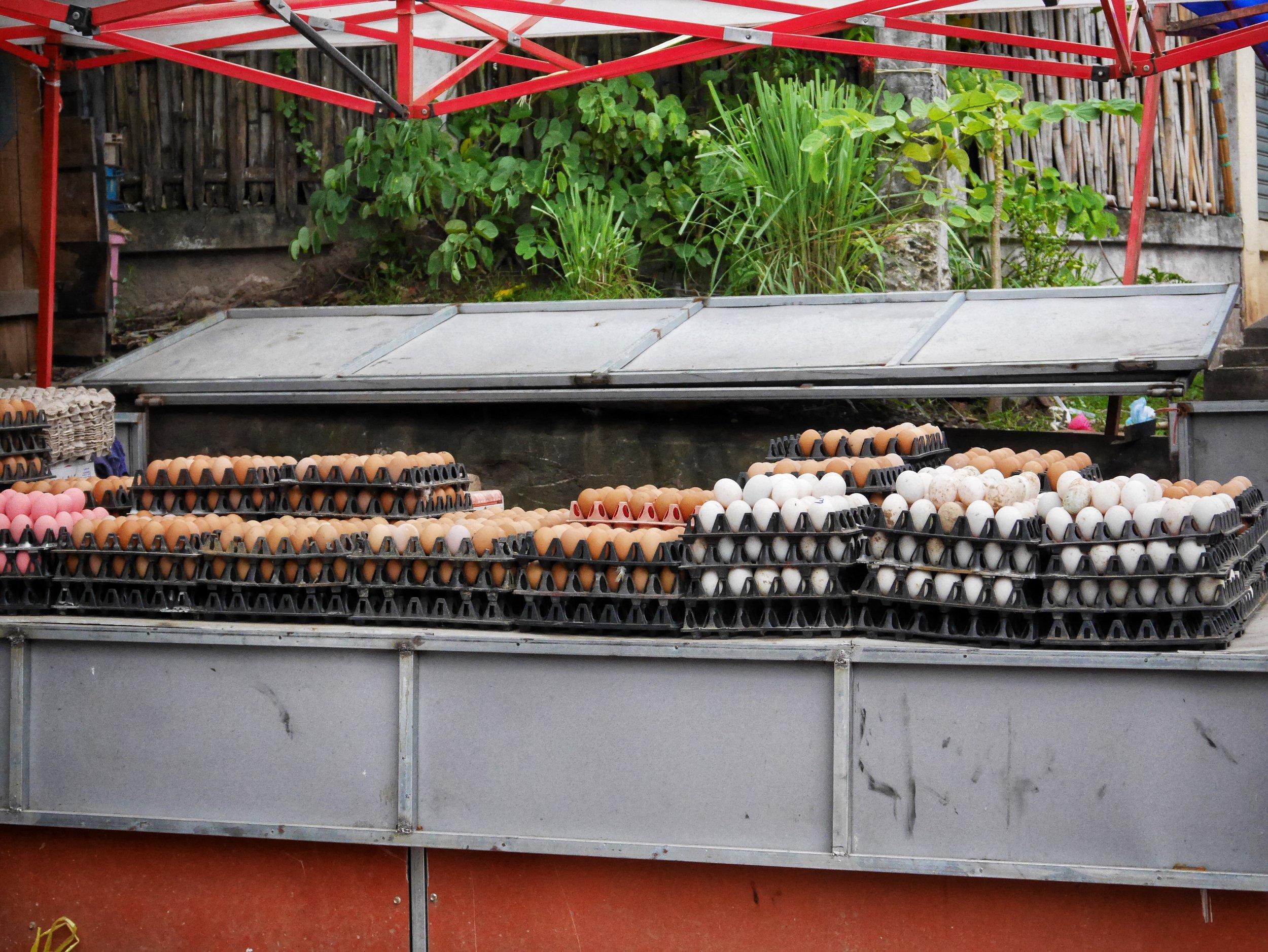 fresh eggs for sale in Luang Prabang, Laos