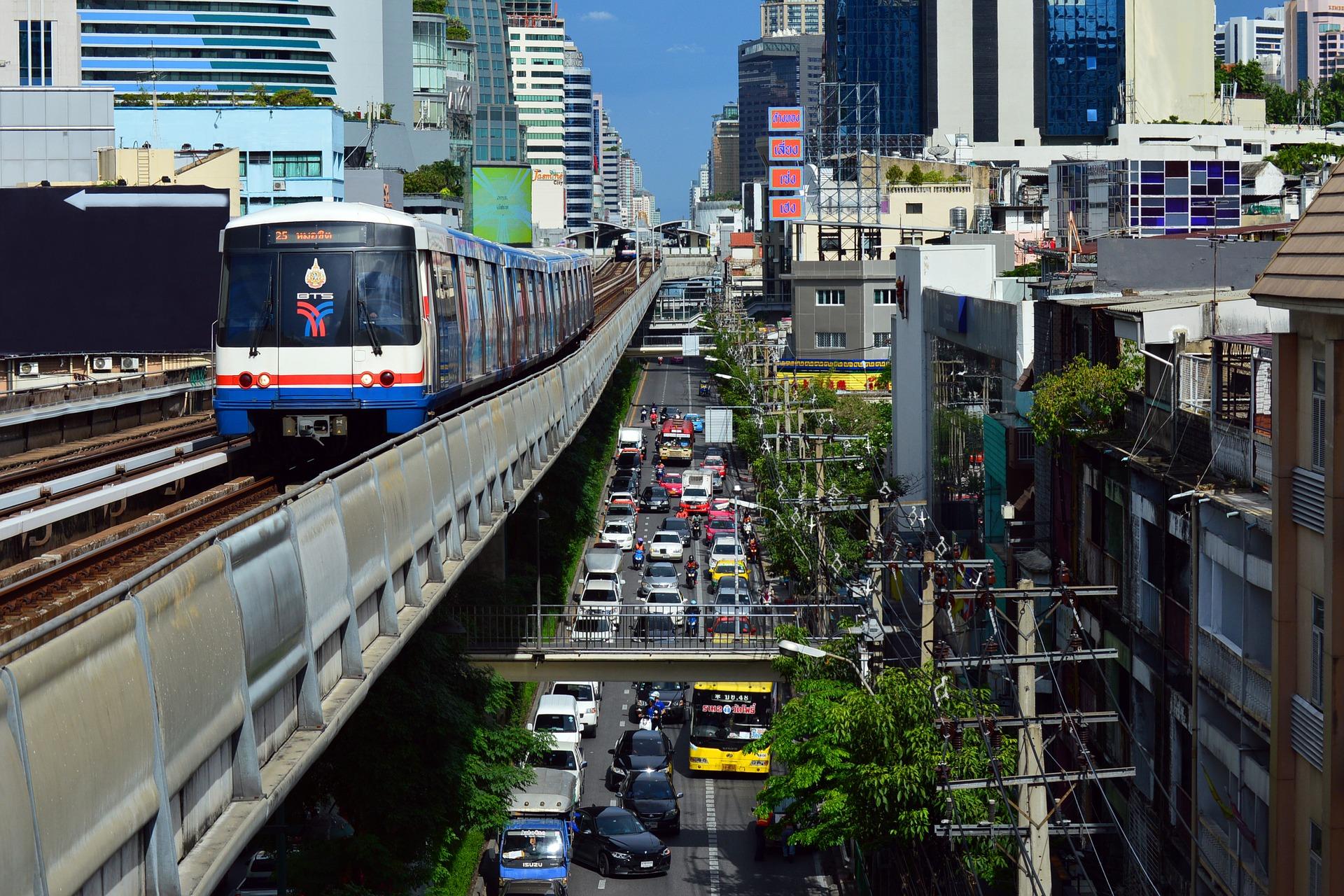 The Bangkok BTS Skytrain in downtown Bangkok, Thailand