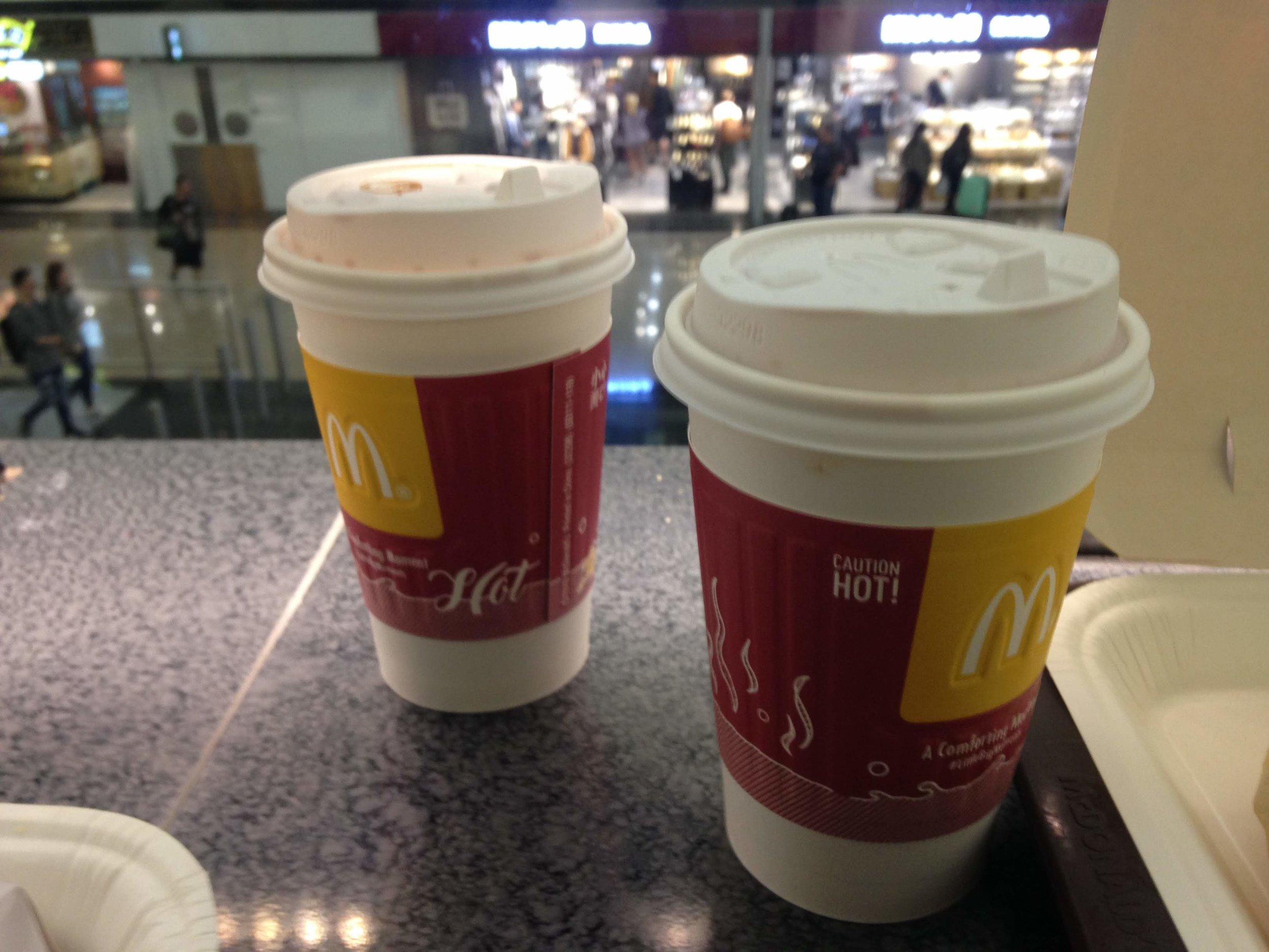 local milk tea from McDonald's Hong Kong at Hong Kong International Airport