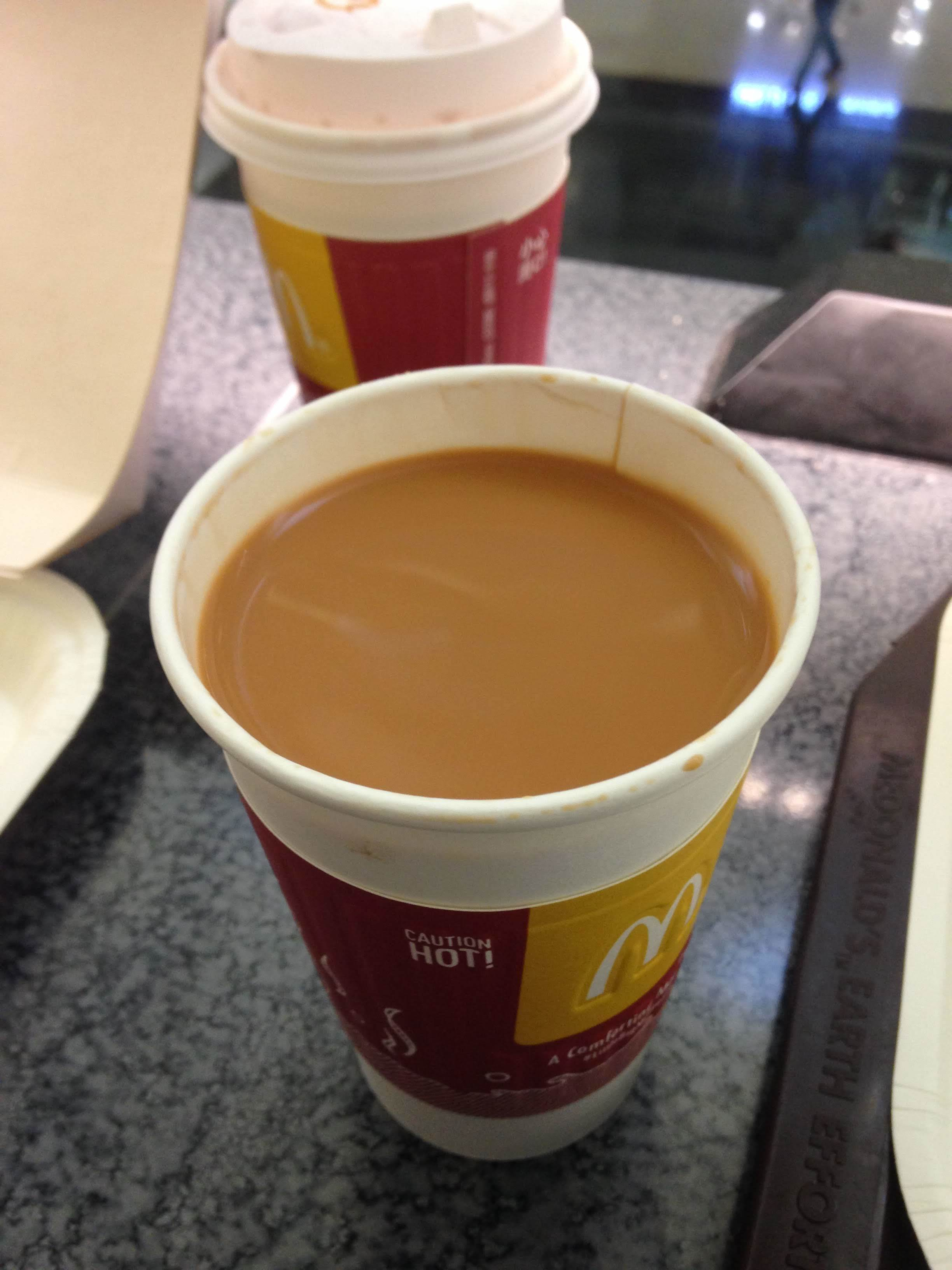 hot Hong Kong Milk Tea ordered from McDonald's Hong Kong